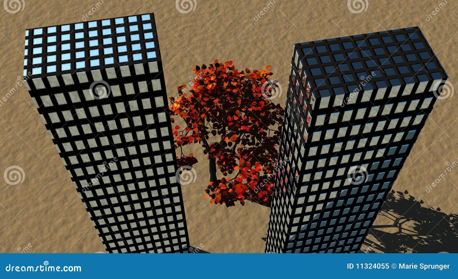 Gebäude und Baum