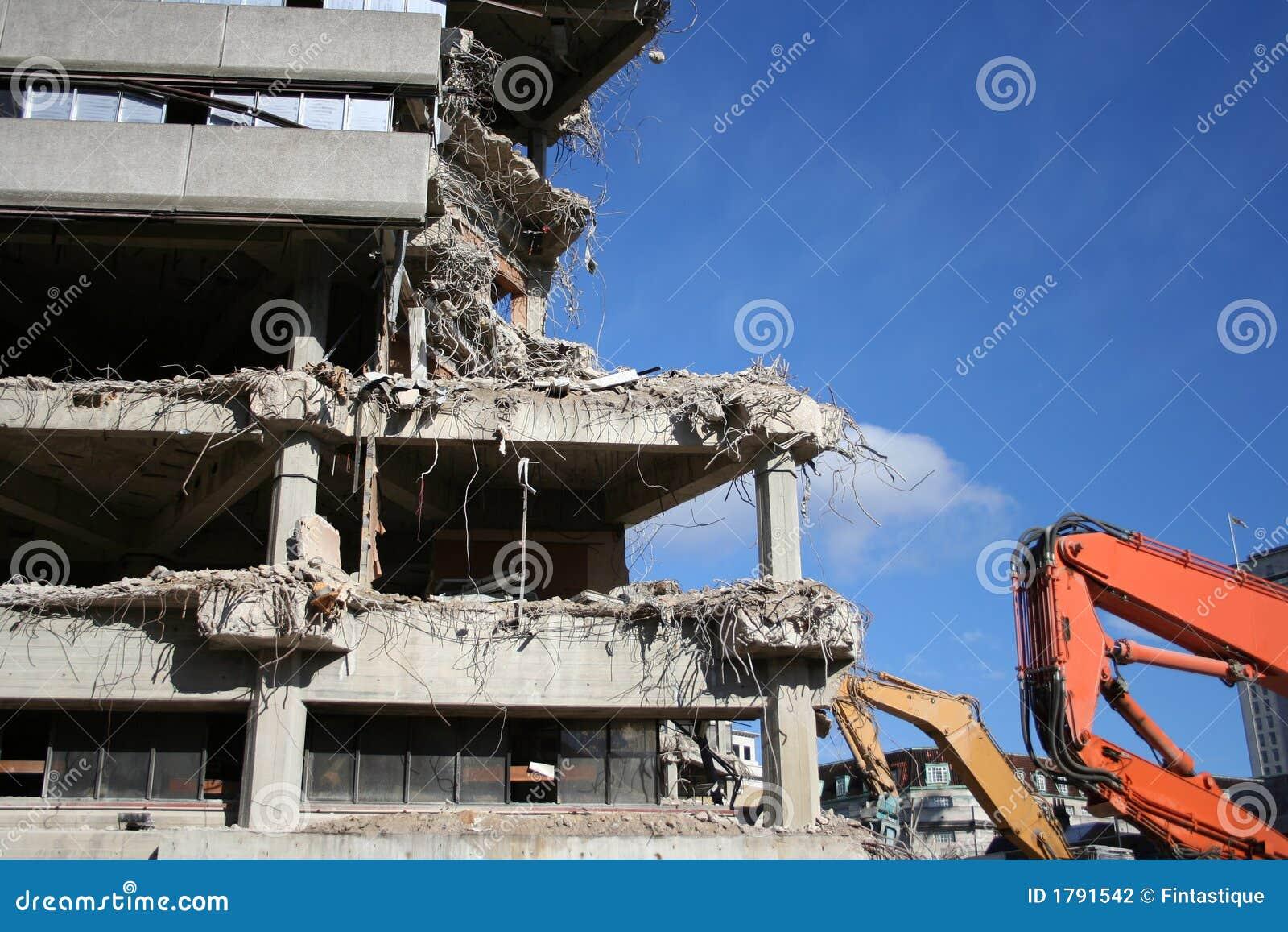 Gebäude unter Demolierung
