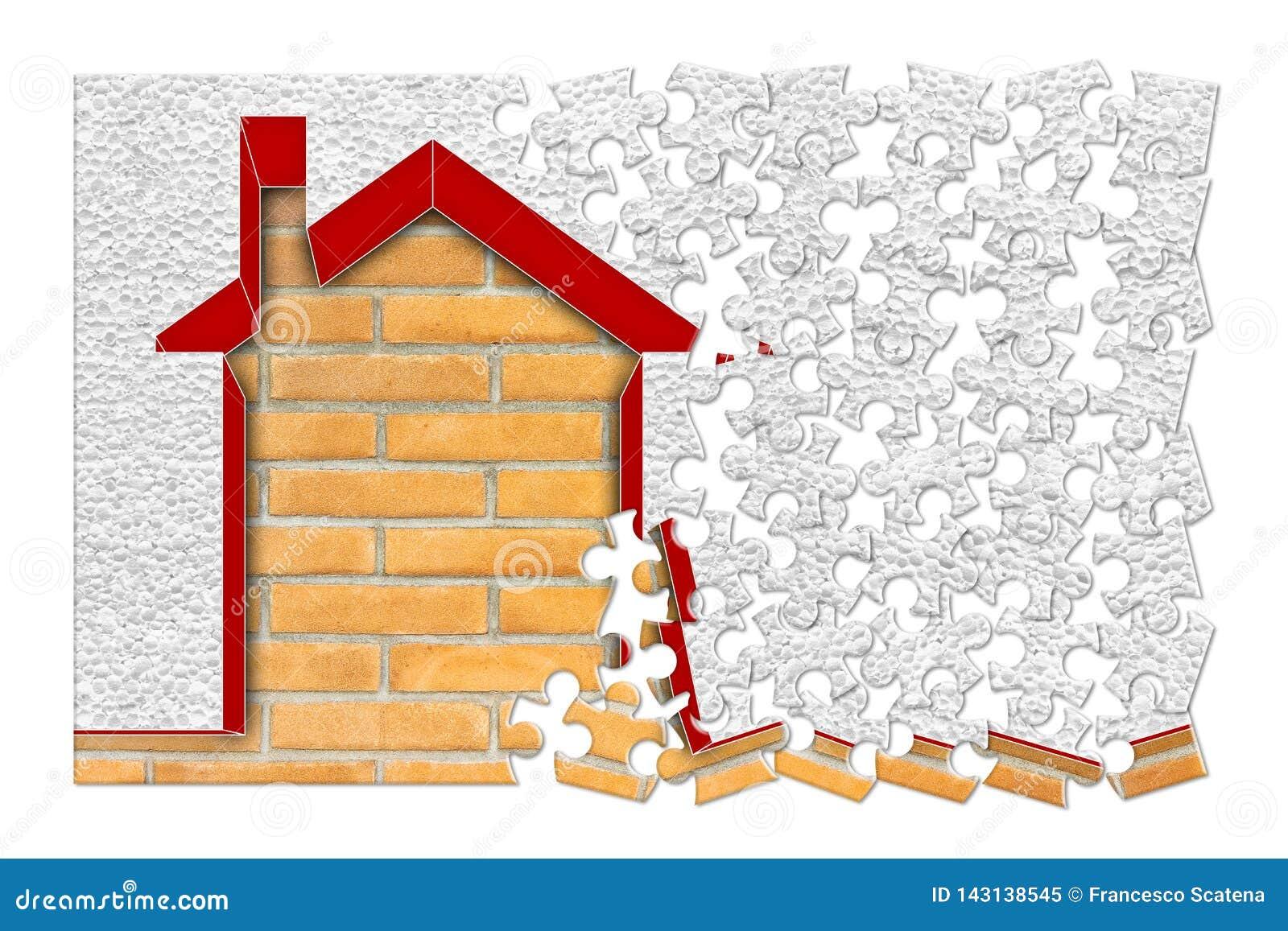 Gebäudeenergieeffizienz-Konzeptbild - 3D übertragen nach Hause thermisch isoliert mit Polystyrenwänden - Konzept im Puzzlen