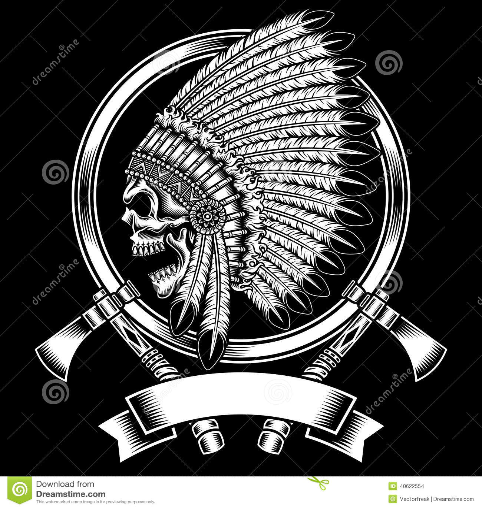 Gebürtiger indianischer Hauptschädel mit Kriegsbeil