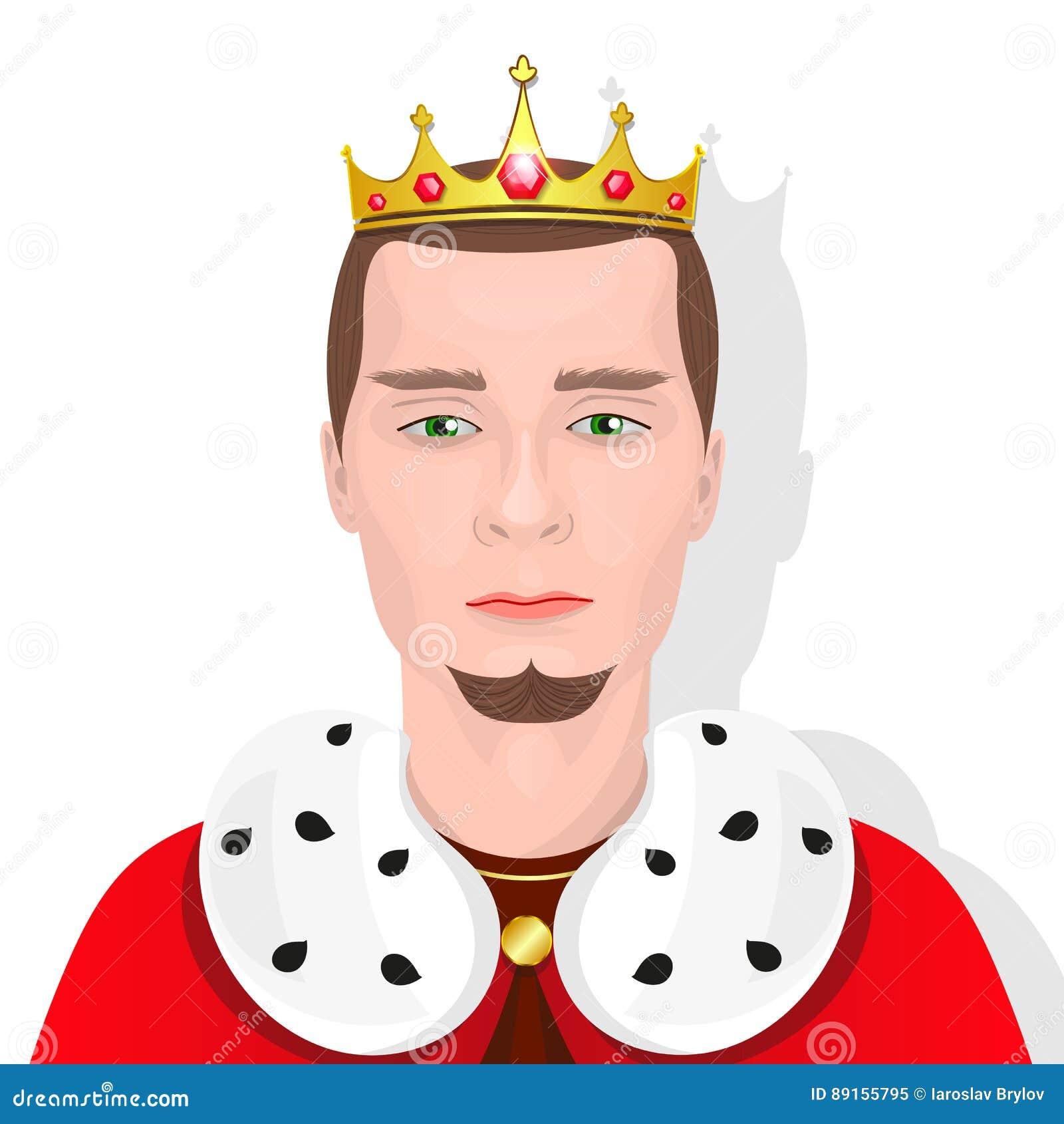 Gebaarde koning met een kroon