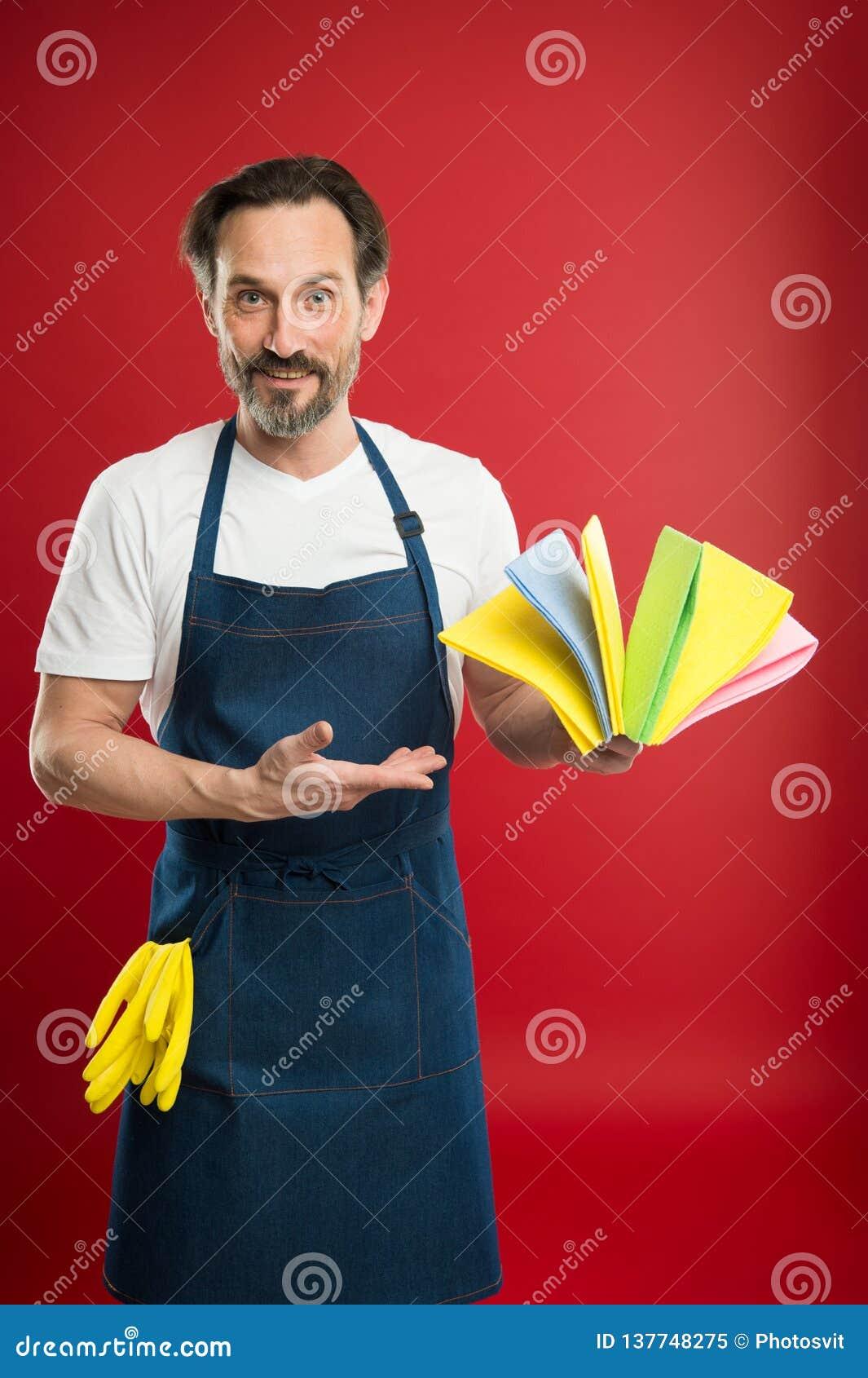 Gebaarde mens Algemeen of regelmatig maak schoon Commercieel het schoonmaken bedrijfconcept Het schoonmaken van de lente binnenla