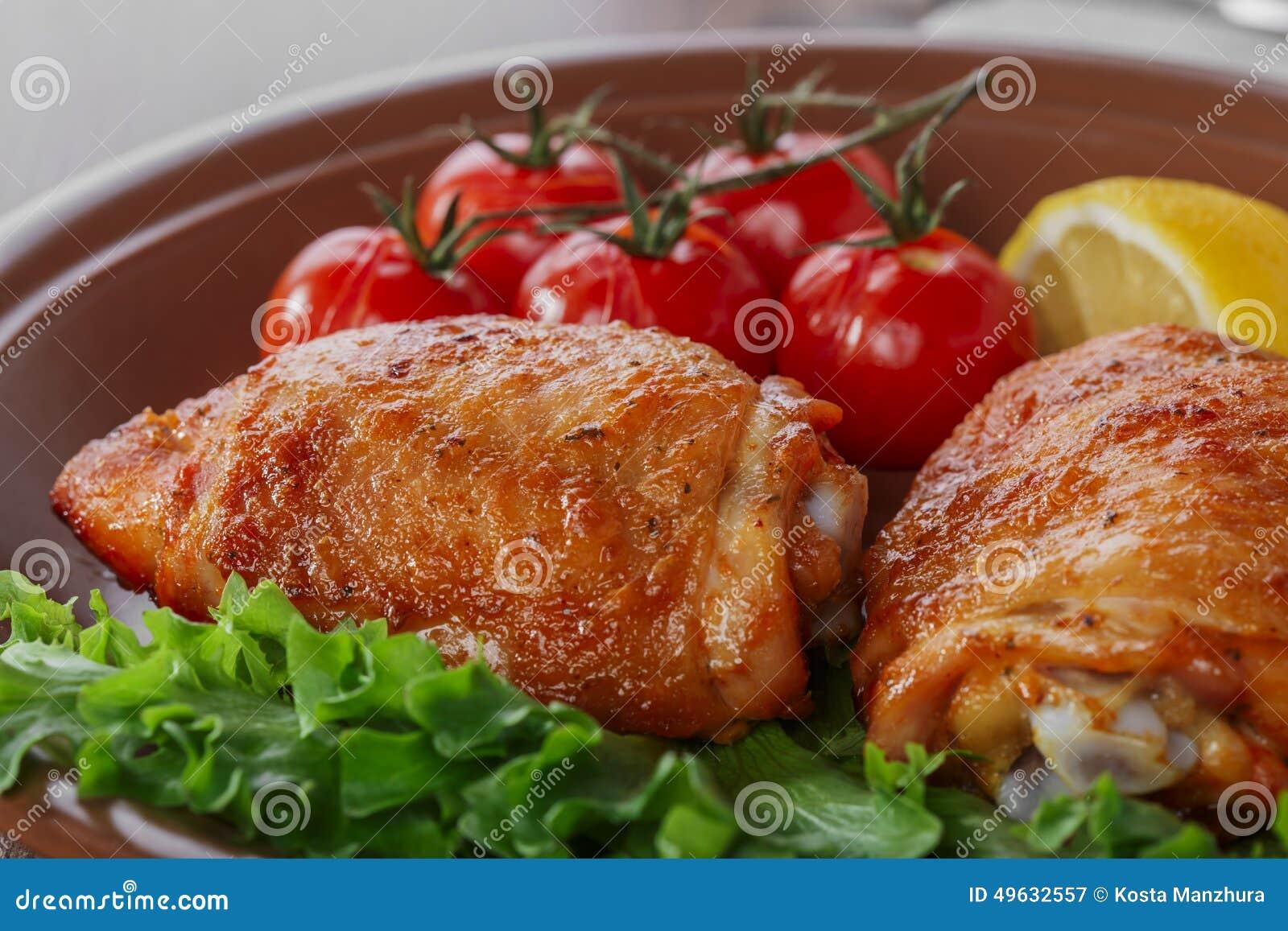 Gebackener Hühnerschenkel
