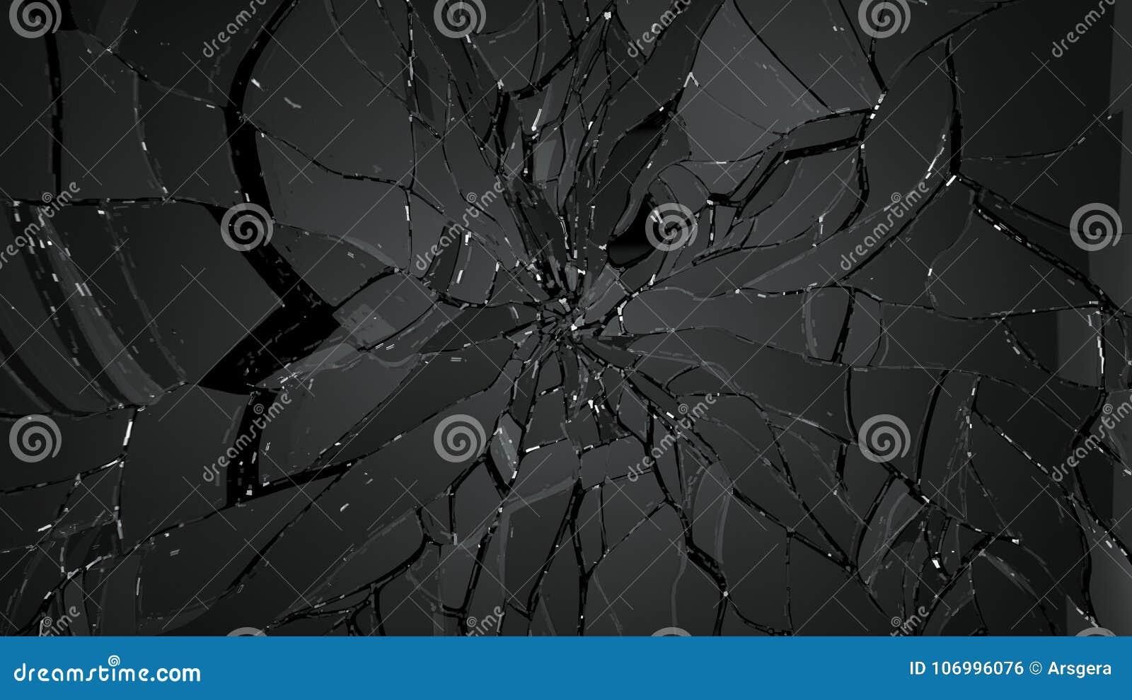 Gebarsten en gebroken glas op zwarte