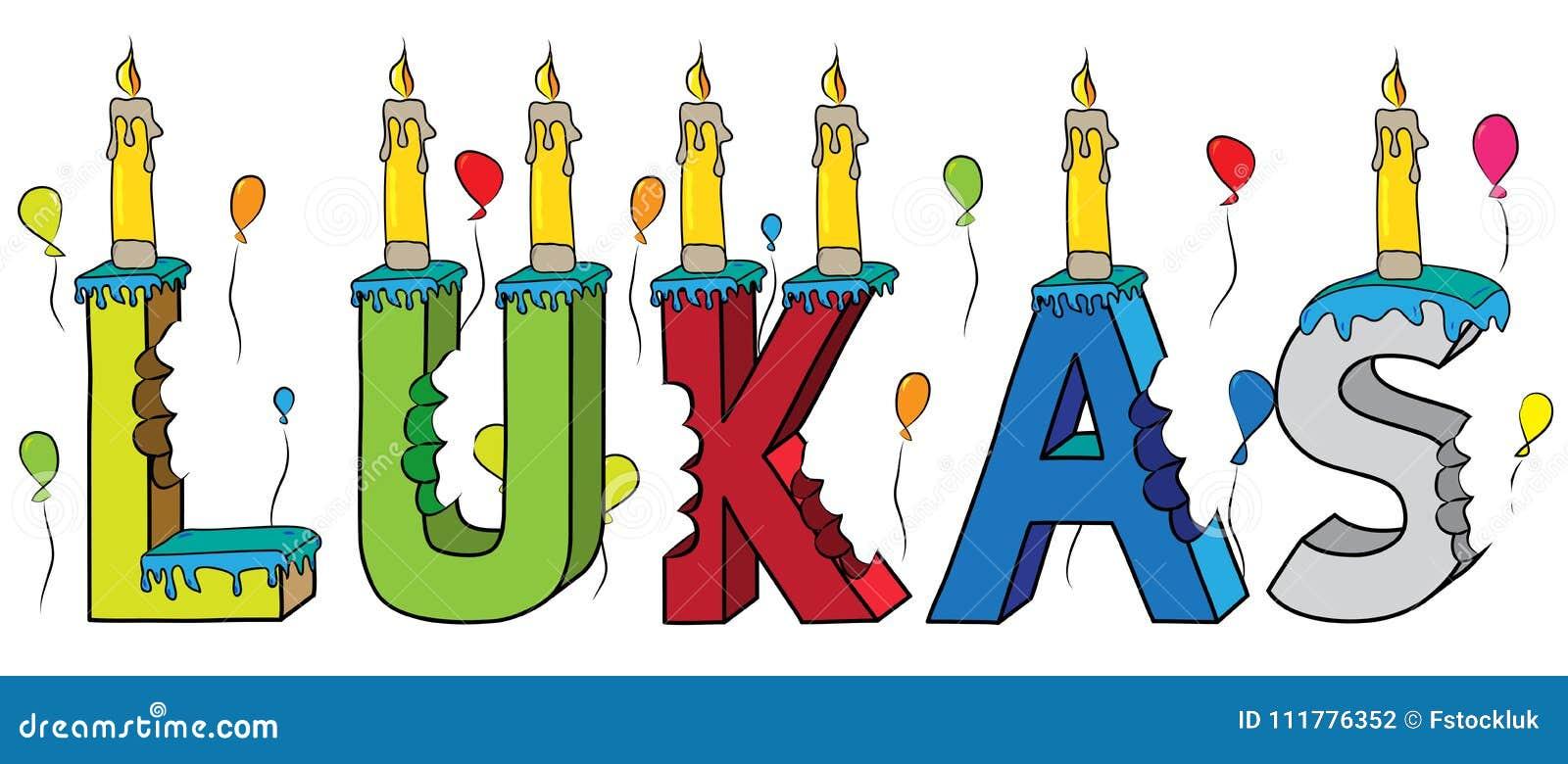 Gebeten kleurrijke 3d van letters voorziende de verjaardagscake van de Lukas mannelijke voornaam met kaarsen en ballons