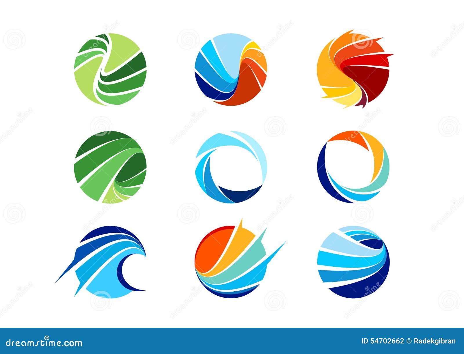 Gebied, cirkel, abstract embleem, globaal, zaken, bedrijf, bedrijf, oneindigheid, Reeks van het ronde vectorontwerp van het picto