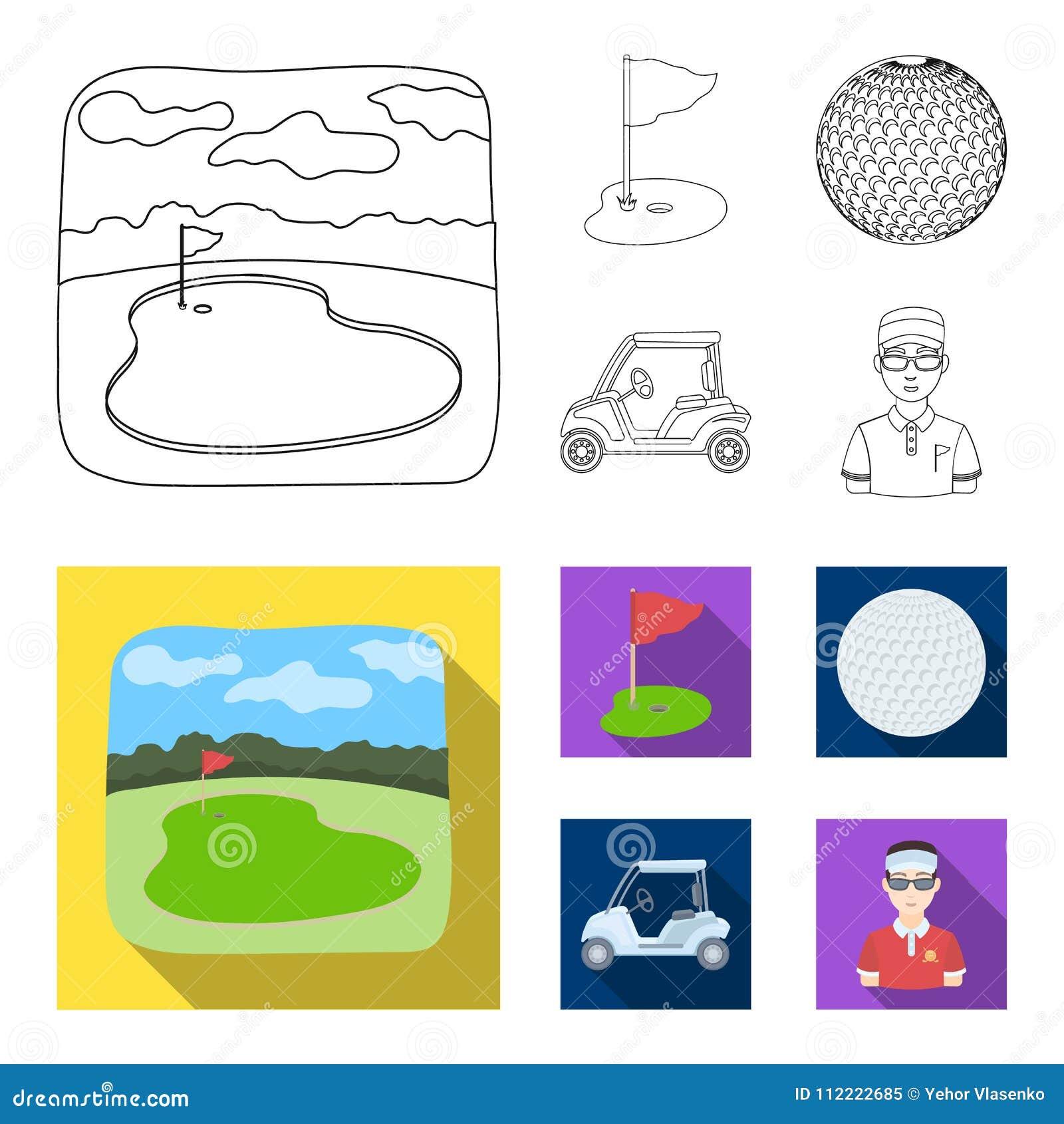 Gebied met een gat en een vlag, een golfbal, een golfspeler, een elektrische golfkar Pictogrammen van de golfclub de vastgestelde