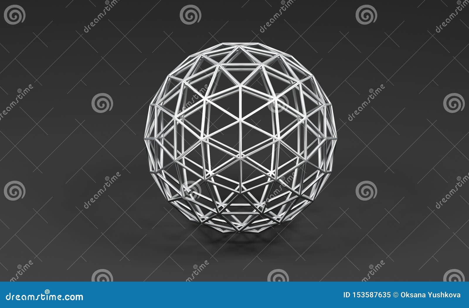 Gebied van metaaldriehoeken op grijze achtergrond - 3D illustratie