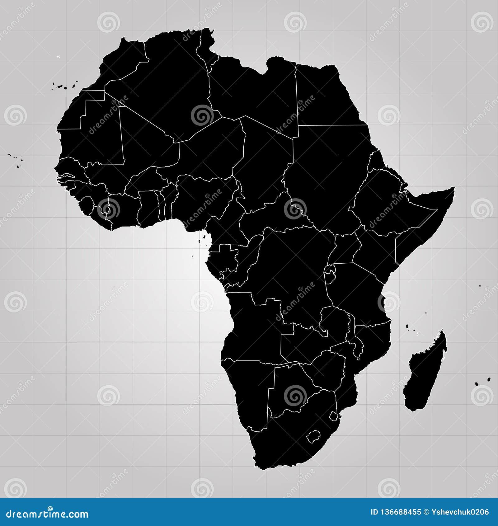 Gebiet von Afrika mit unterschiedlichen Ländern Grauer Hintergrund Auch im corel abgehobenen Betrag