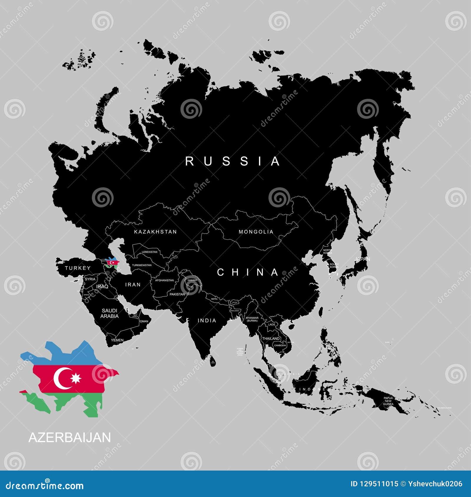 Gebiet Von Aserbaidschan Auf Asien Kontinent Markierungsfahne Von Azerbaijan Auch Im Corel Abgehobenen Betrag Vektor Abbildung Illustration Von Betrag Gebiet 129511015