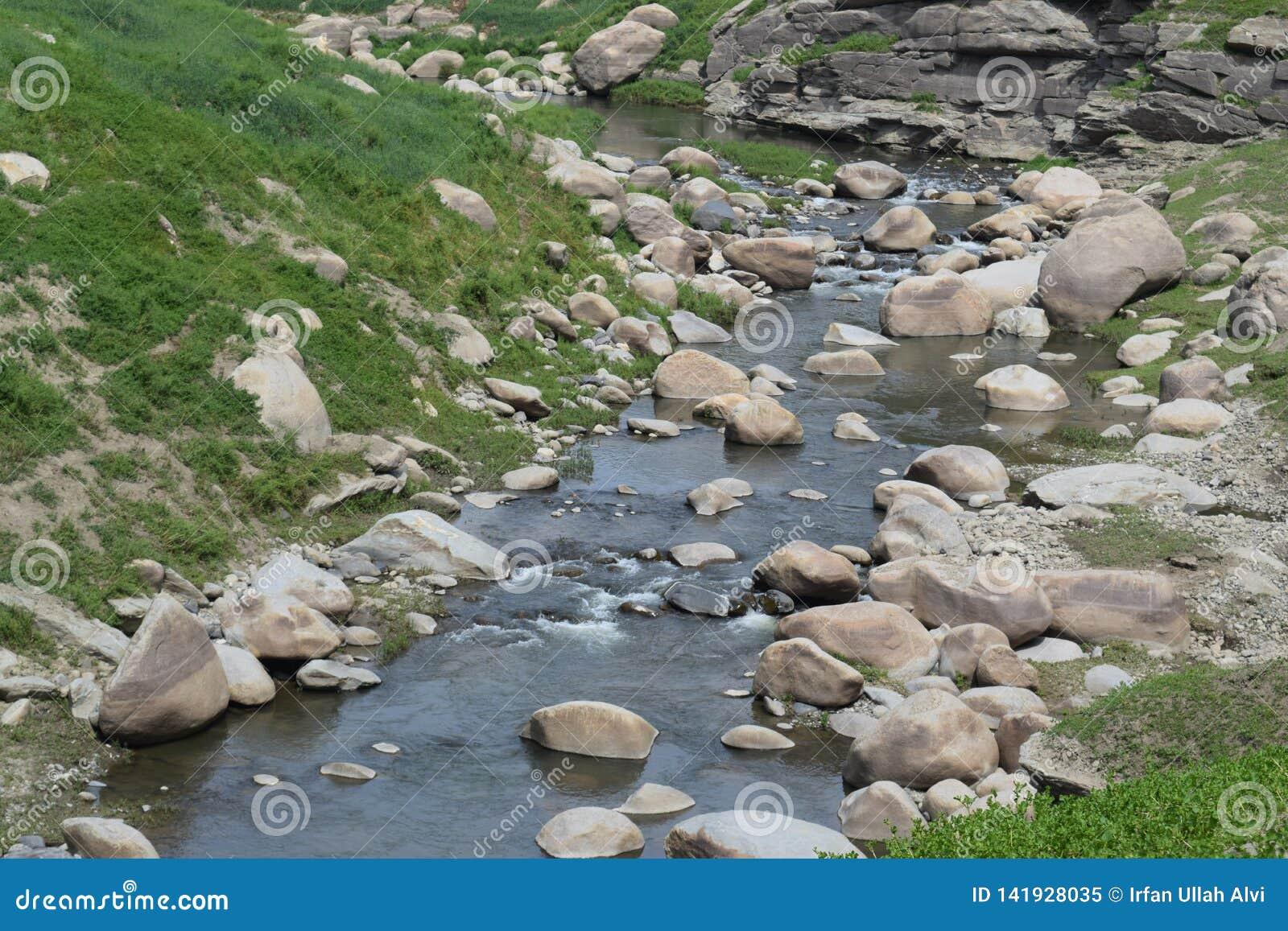 Gebirgsflussstrom des Wassers in den Felsen