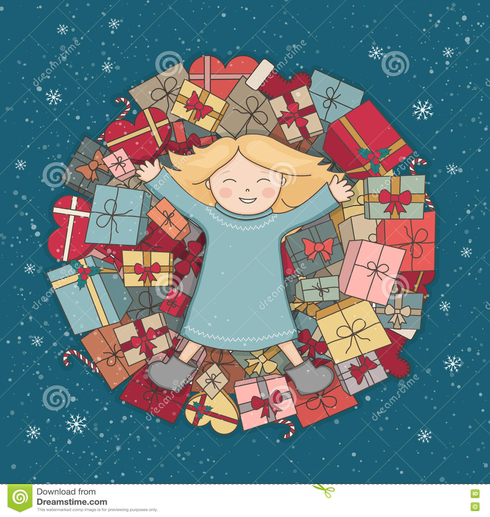 Gebirgsgeschenke Das Kind Empfing Ein Geschenk Fest Von Weihnachten ...