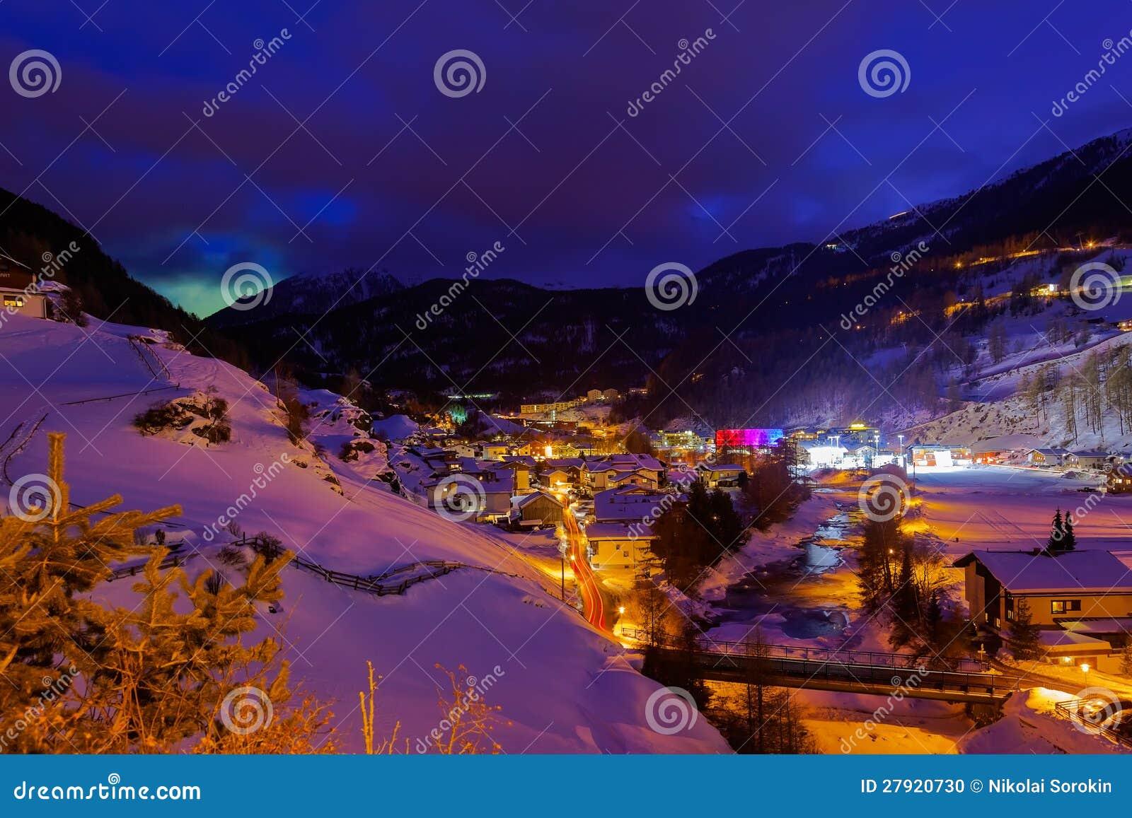 GebirgsSkiort Solden Österreich - Sonnenuntergang