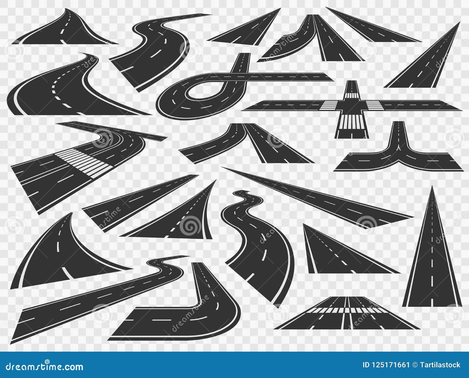 Gebogen weg in perspectief De buigende landelijke wegenkrommen, bended asfalt en het buigen vector de illustratiereeks van draaiw