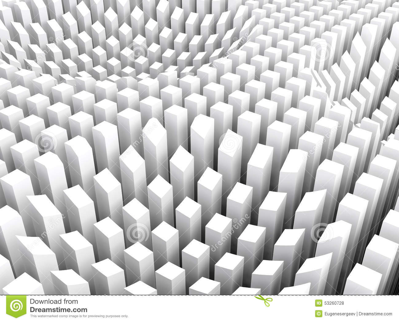 gebogene oberfläche bildete weiße spaltenbereichsreihe, 3d stock