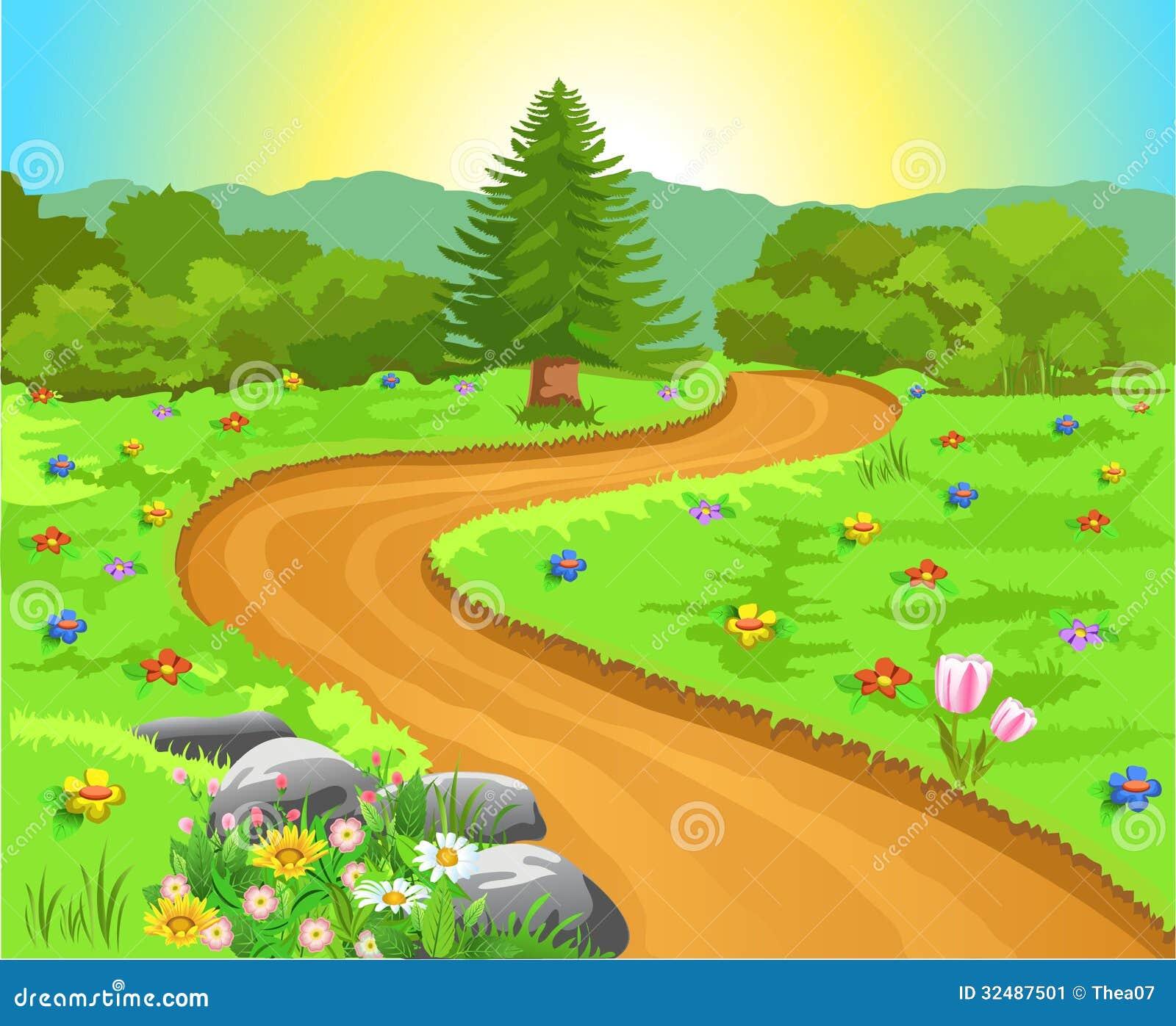 Gebogener Weg in der Naturlandschaft