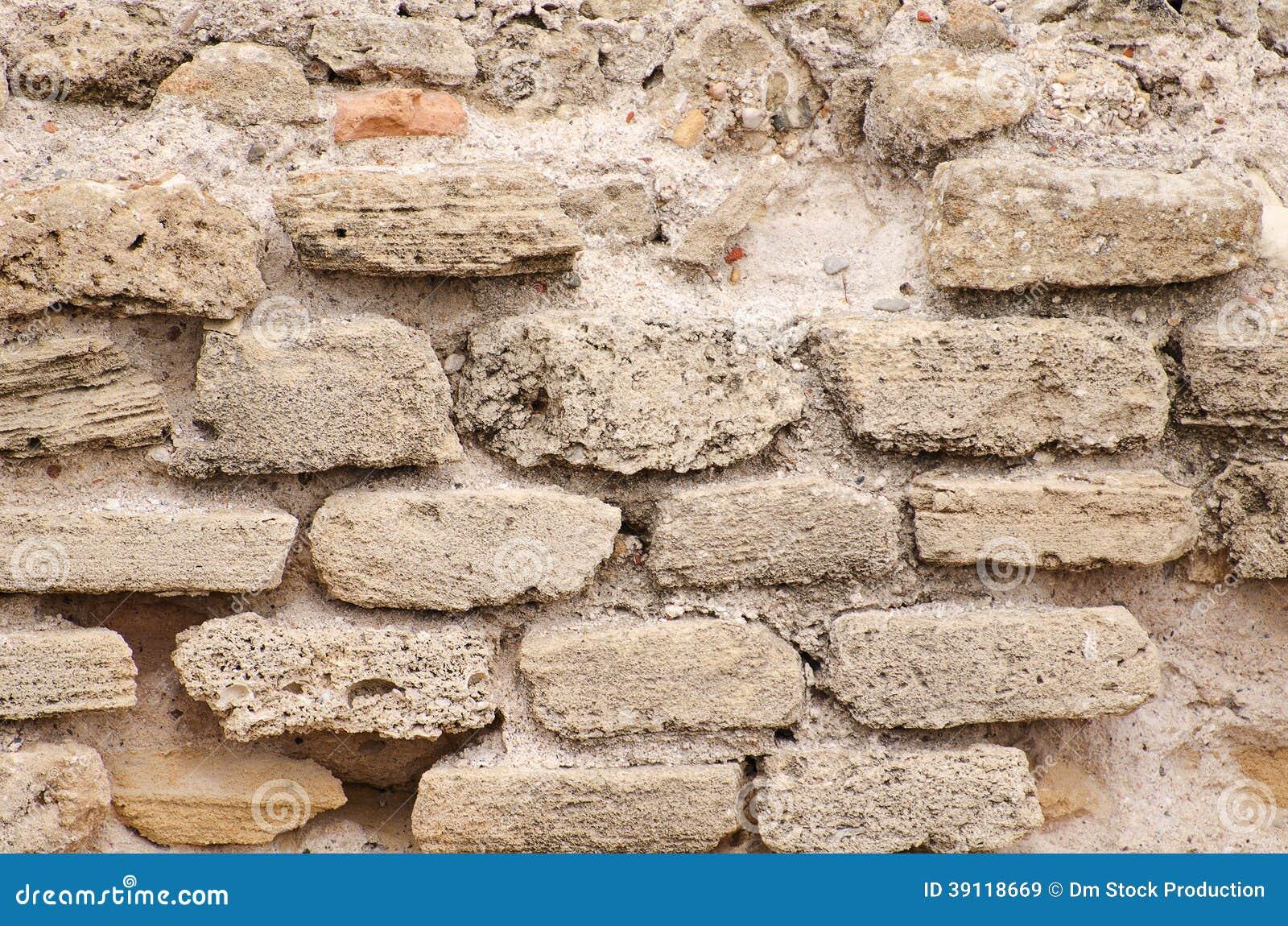 Gebouwde bakstenen muur.