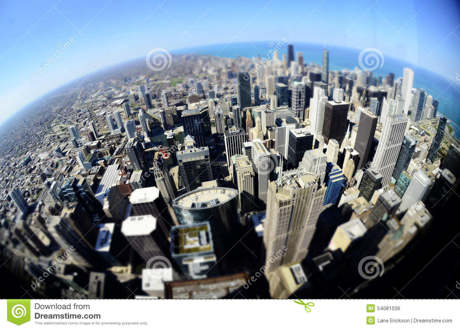 Gebouwen de Van de binnenstad Fisheye van Chicago om Wereld