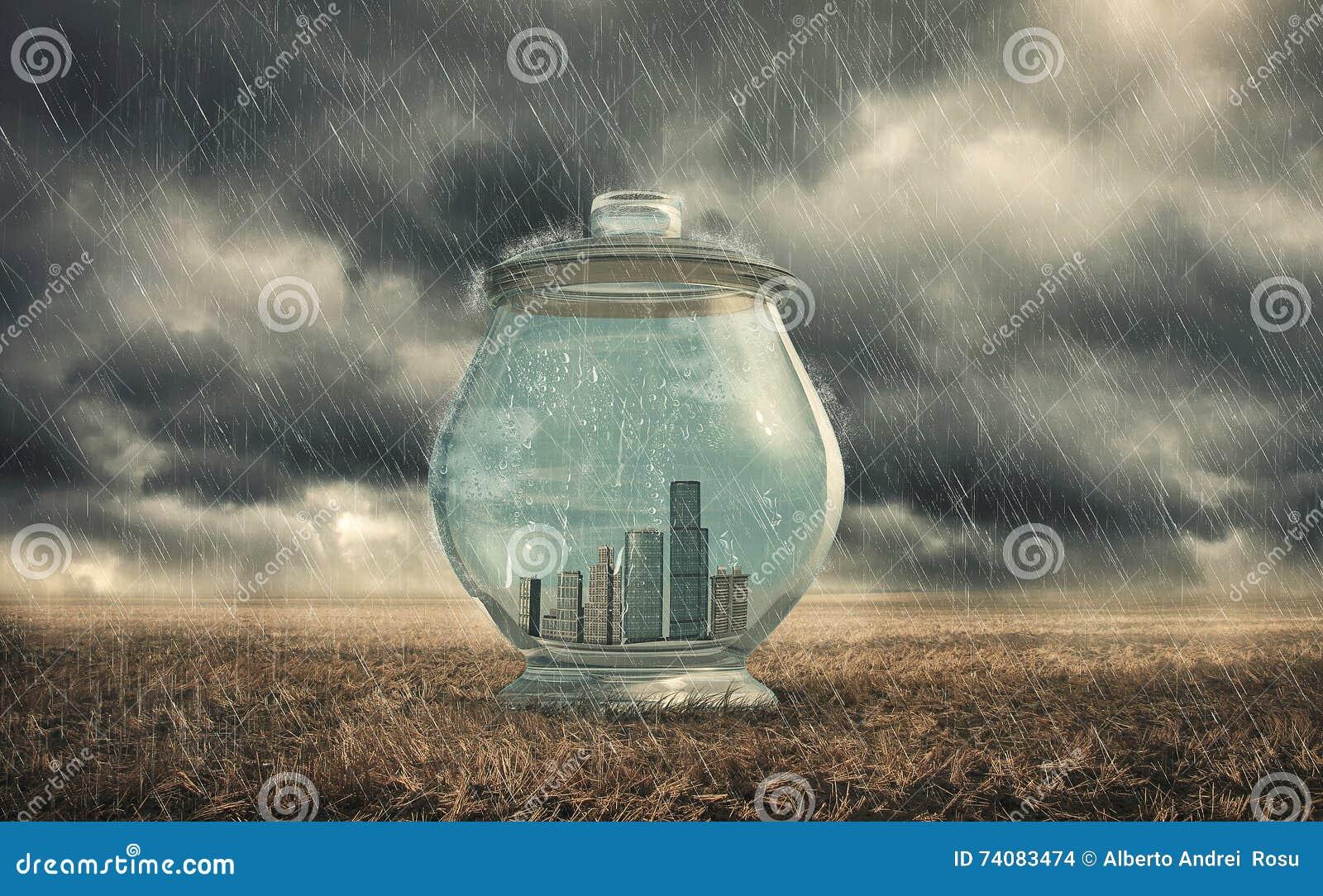 Gebouwen in een glaskruik