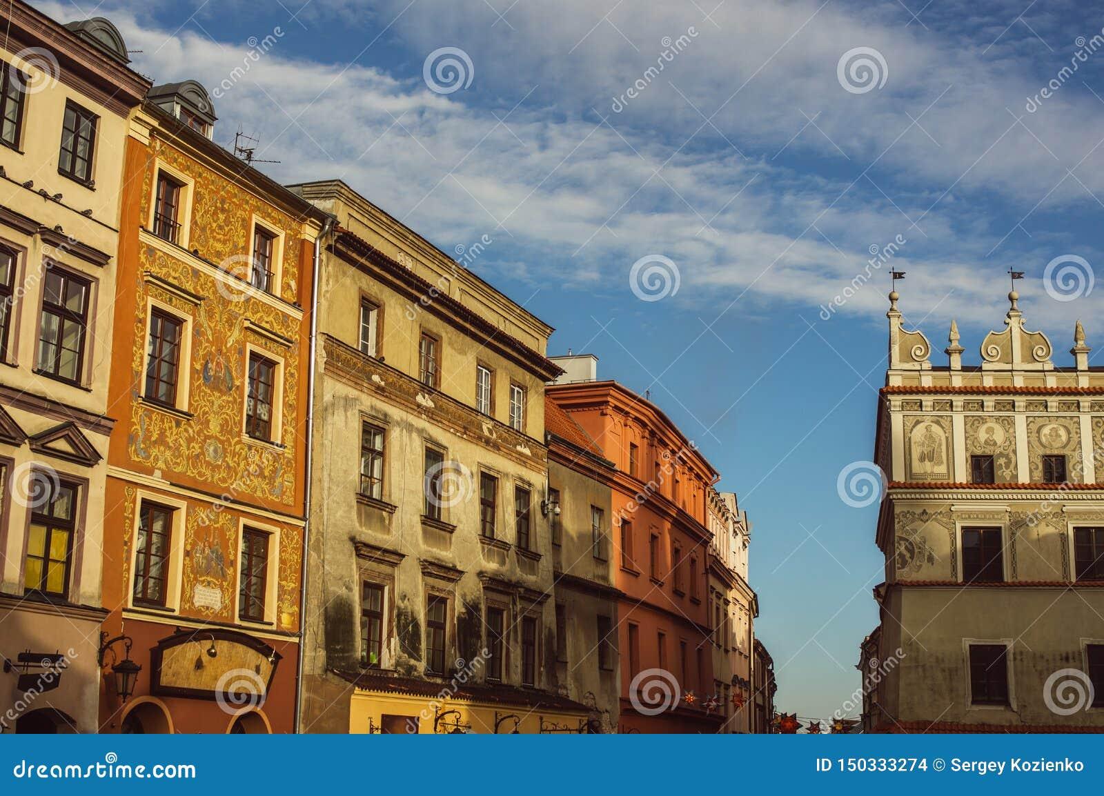 Gebouwen in het oude centrum van Lublin, Polen