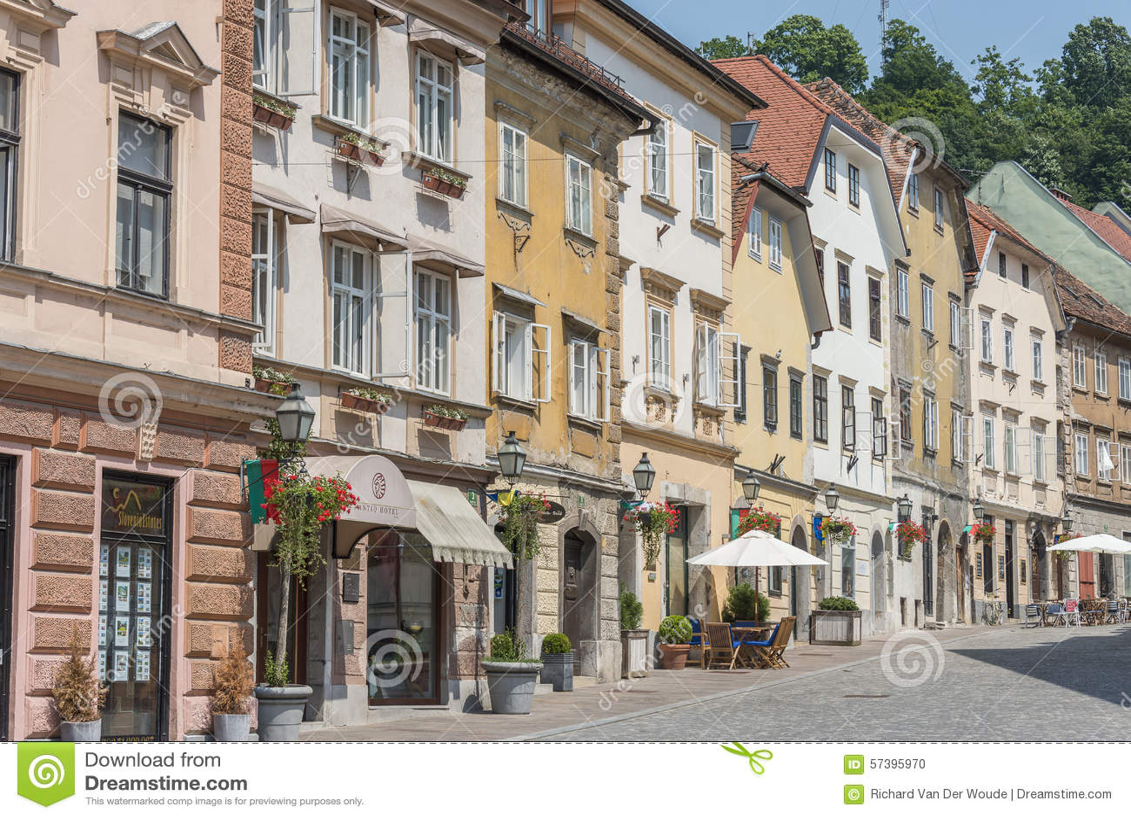 Gebouwen in historisch centrum van Ljubljana, Slovenië
