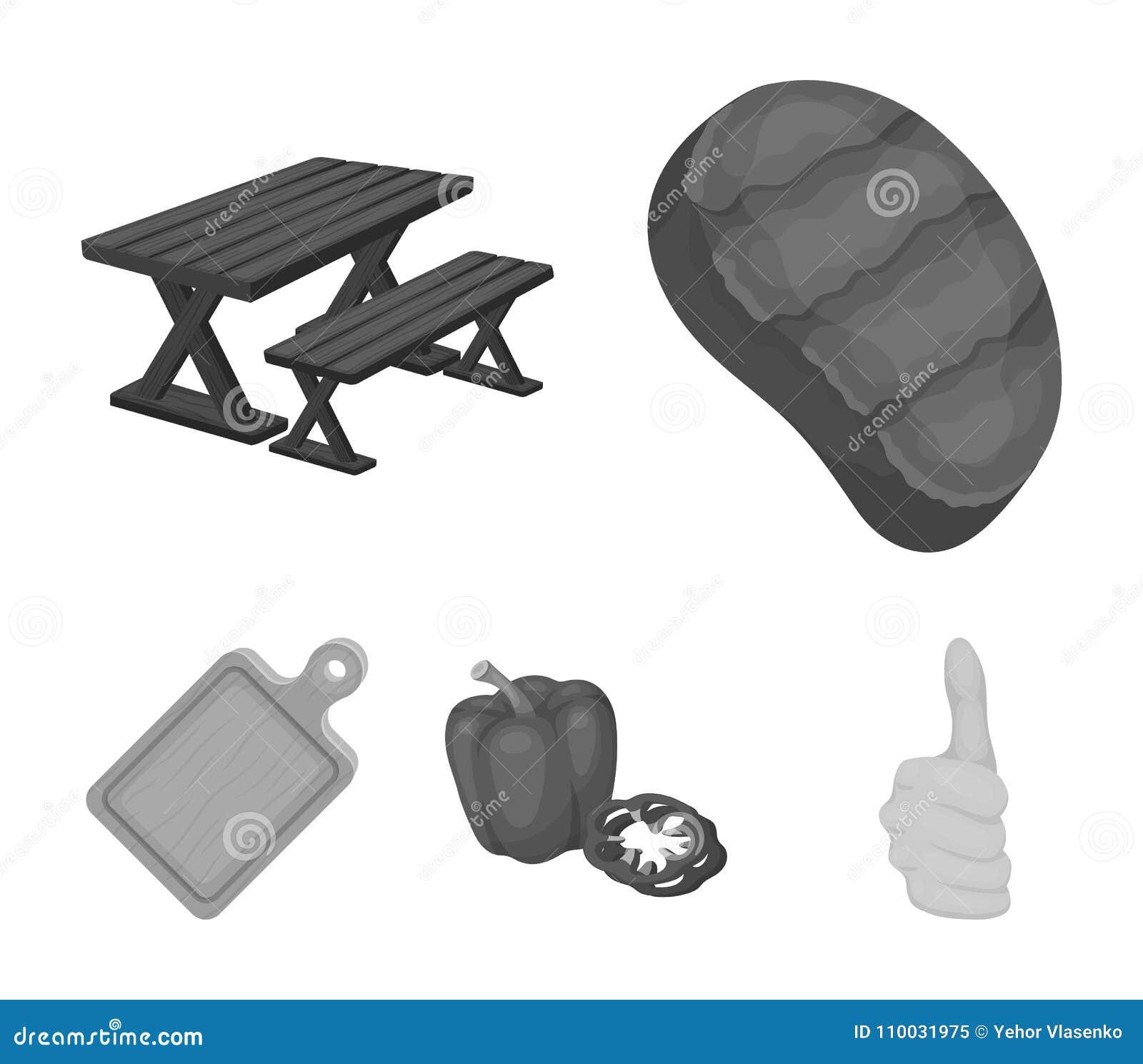 Gebraden lapje vlees, lijst met een bank voor ontspanning, paprika, scherpe raad BBQ vastgestelde inzamelingspictogrammen in zwar
