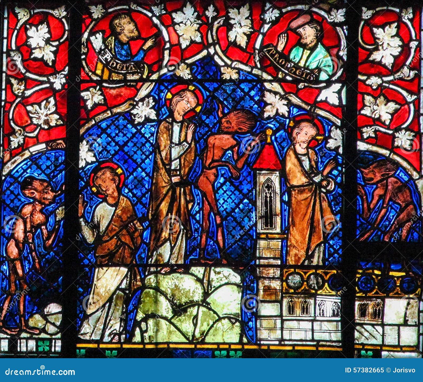 Gebrandschilderd glas - de Verleiding van Christus