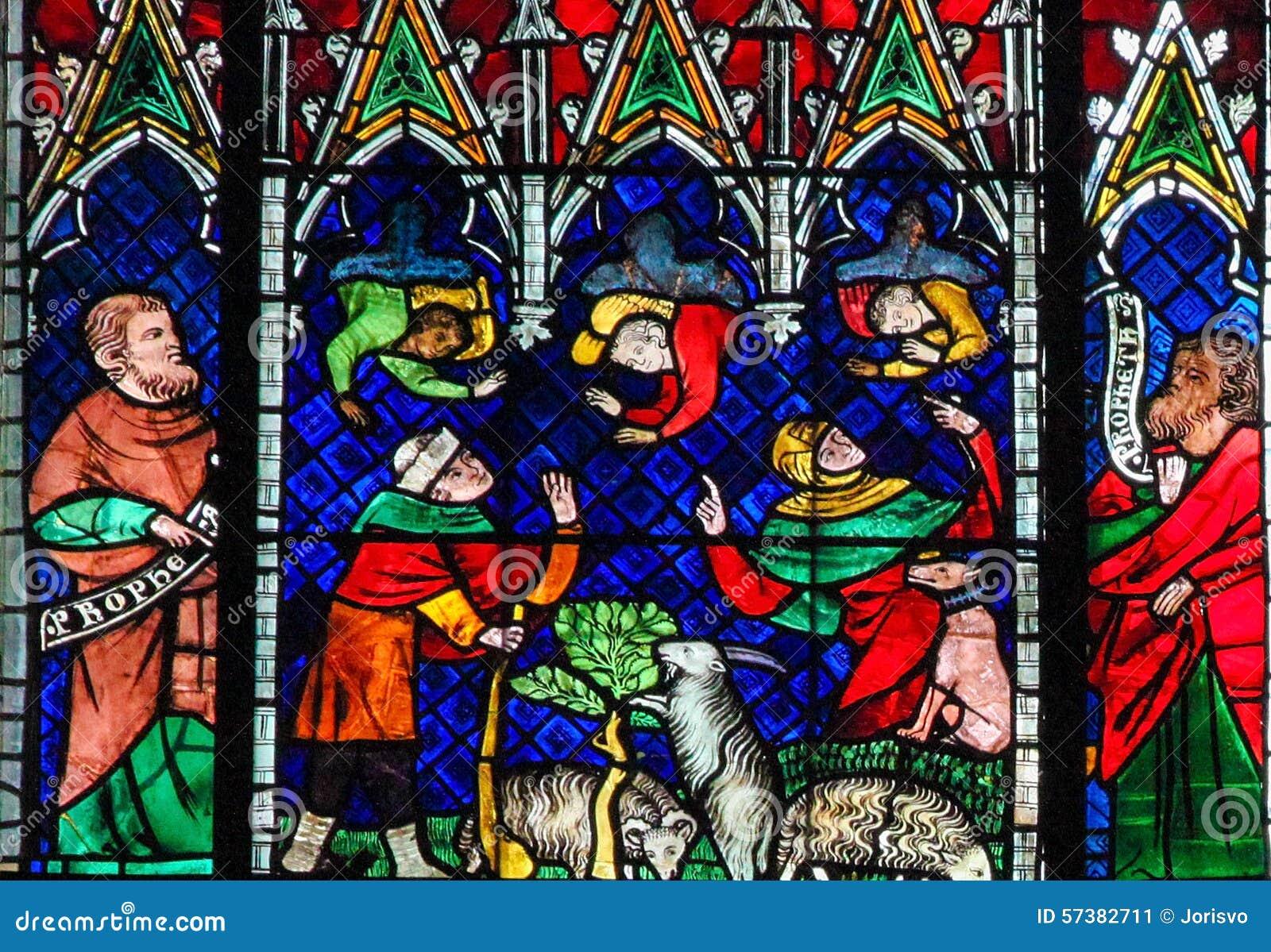 Gebrandschilderd glas - Engelen en Geiten