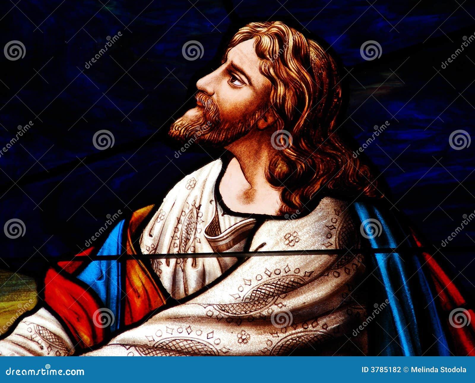 Gebrandschilderd glas Jesus Praying