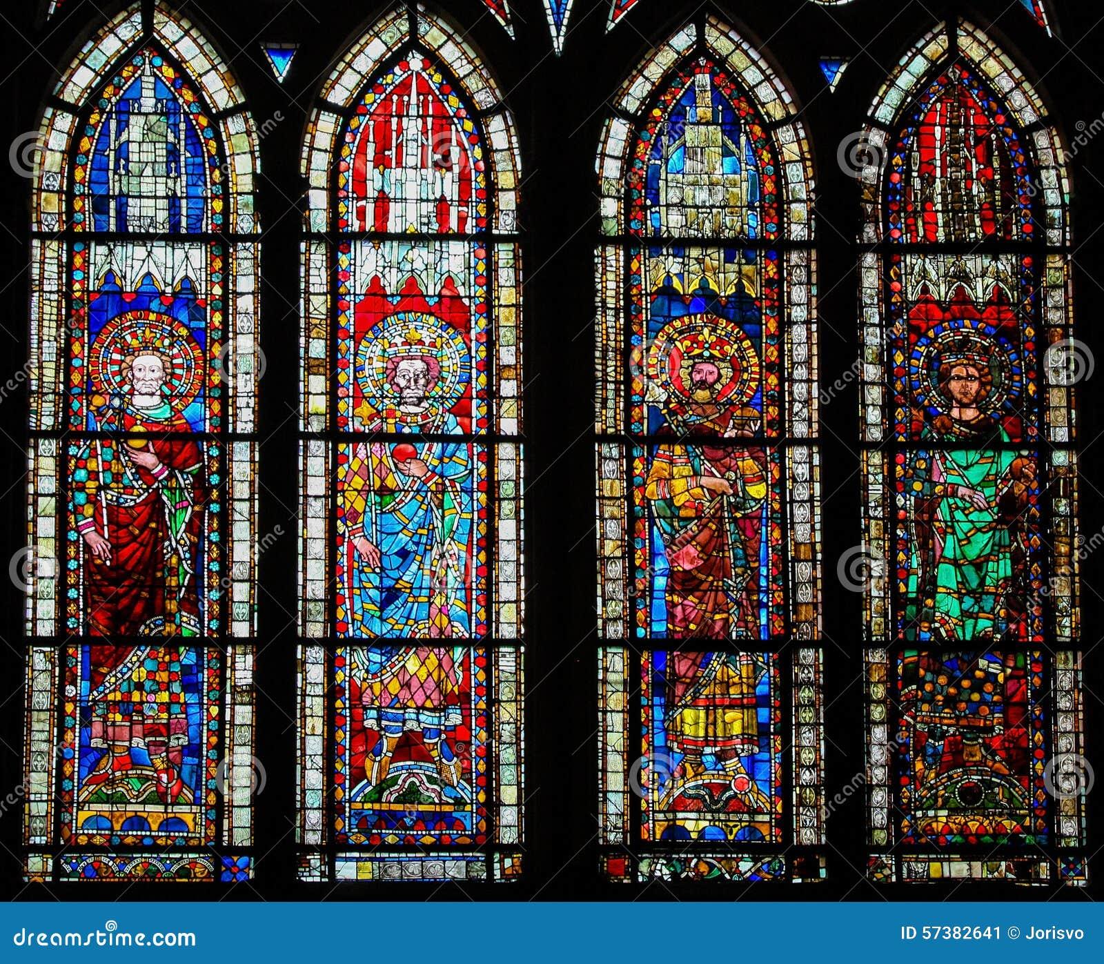 Gebrandschilderd glas in Kathedraal van Straatsburg, Frankrijk