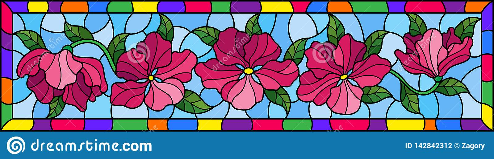 Gebrandschilderd glasillustratie met roze bloemen en bladeren op blauwe achtergrond, horizontaal beeld in helder kader