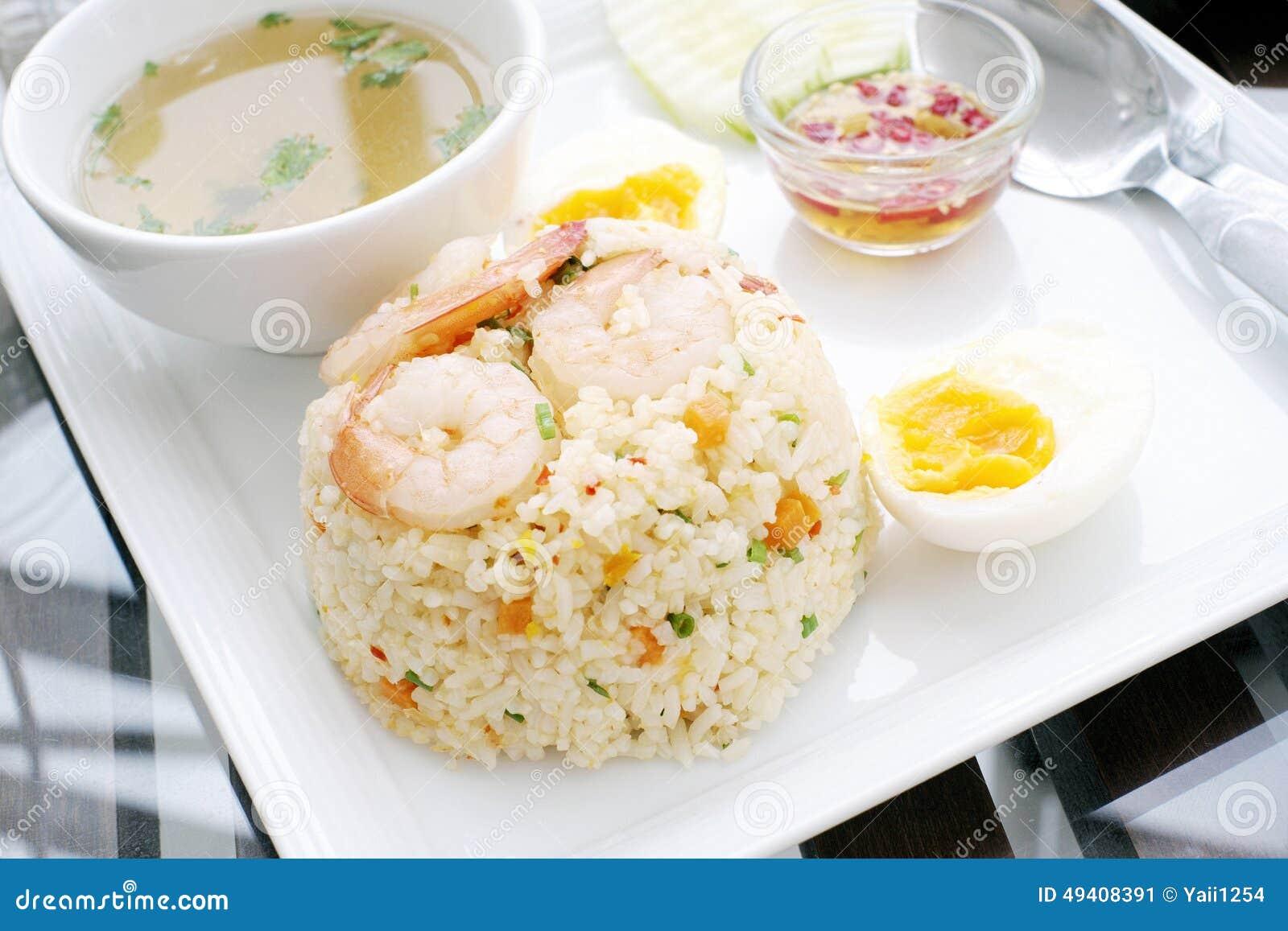 Download Gebratener Reis Mit Garnele Stockbild - Bild von vorbereiten, platte: 49408391