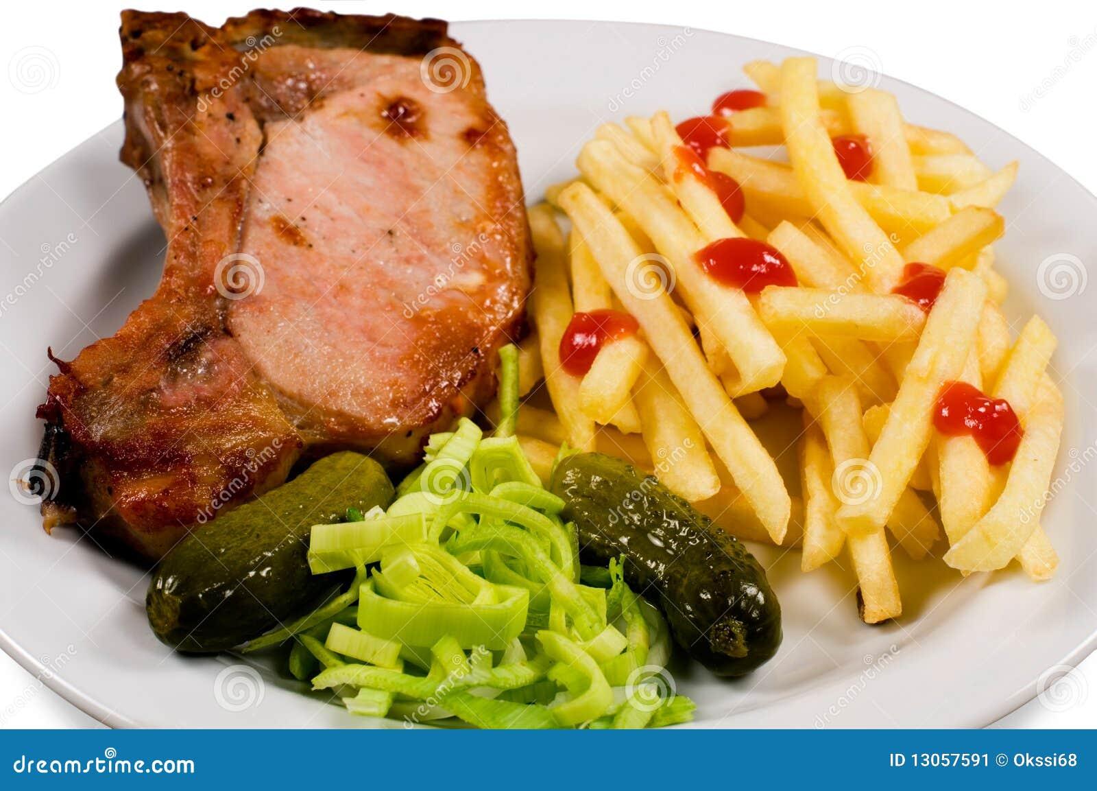 gebratenes fleisch und kartoffelfrei stockbild bild von steak mittagessen 13057591. Black Bedroom Furniture Sets. Home Design Ideas