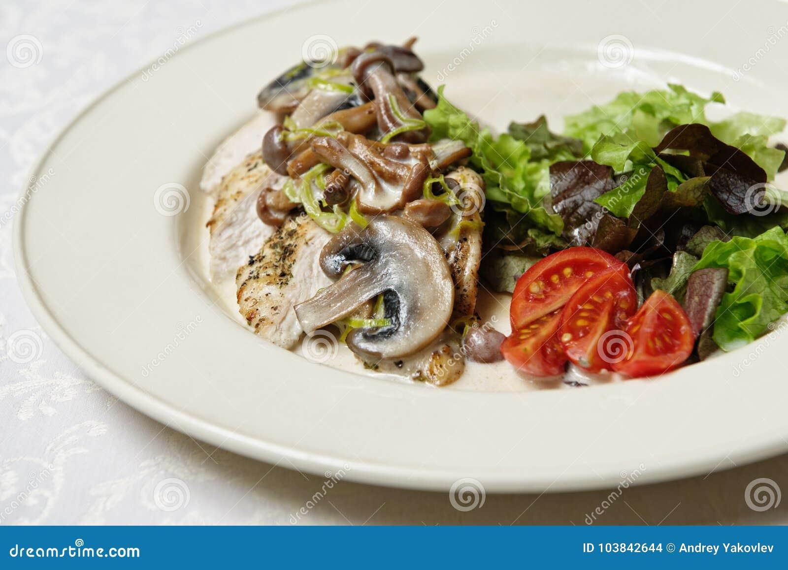 Gebratenes Huhn mit Pilz