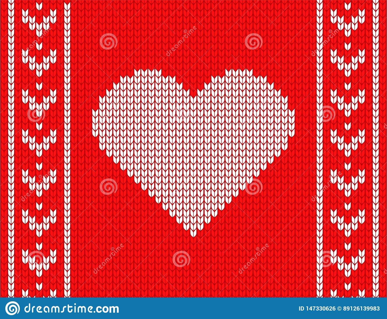 Gebreid hart op een rode achtergrond