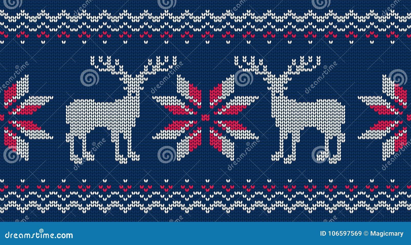 Gebreid naadloos patroon voor sweater Vectorachtergrond met herten