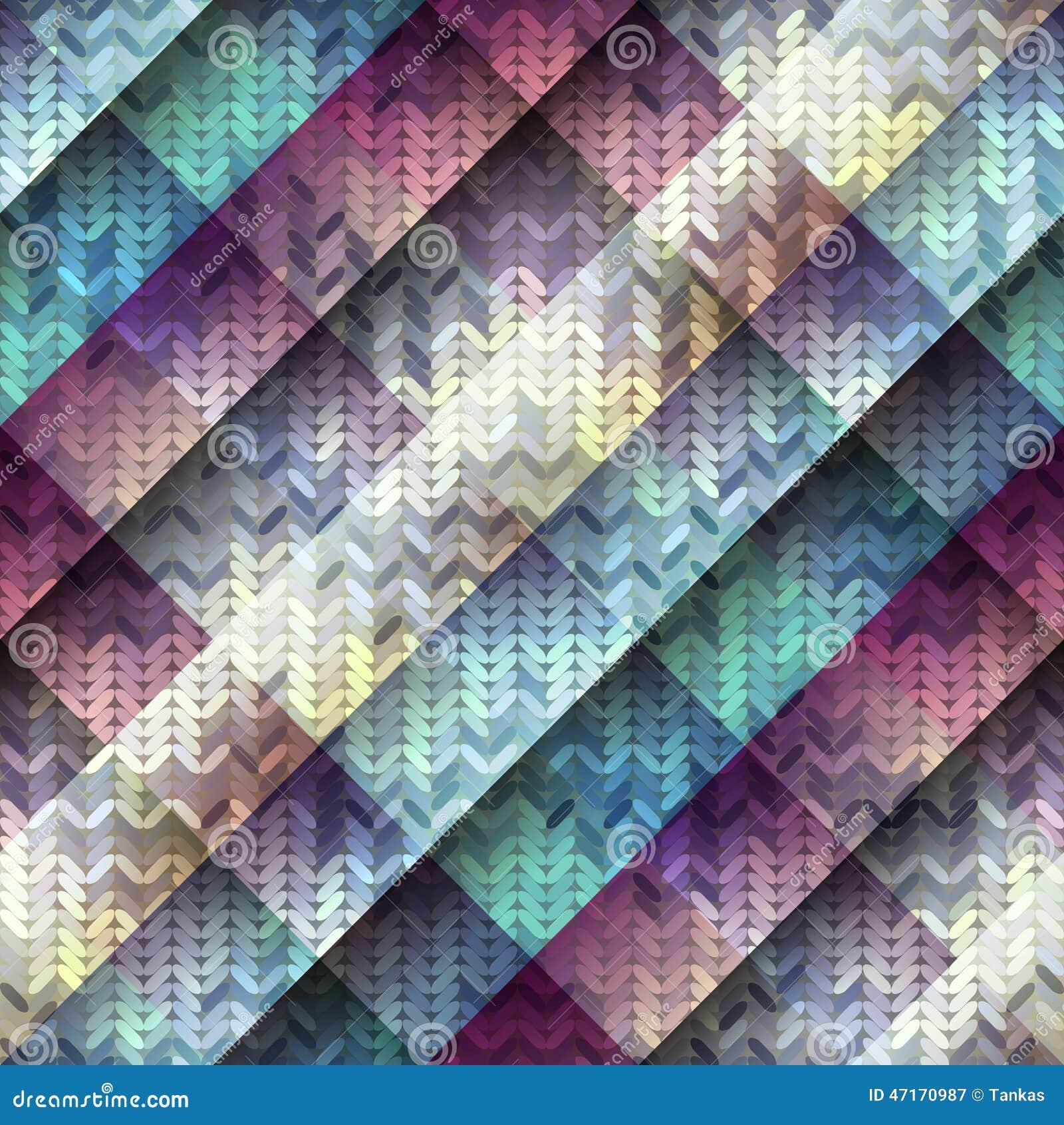 Gebreid patroon op diagonale geometrische achtergrond