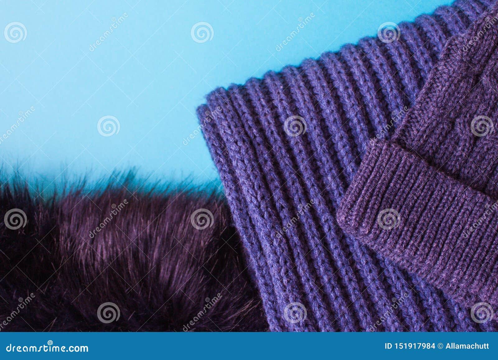 Gebreide sjaal en hoedentextuur