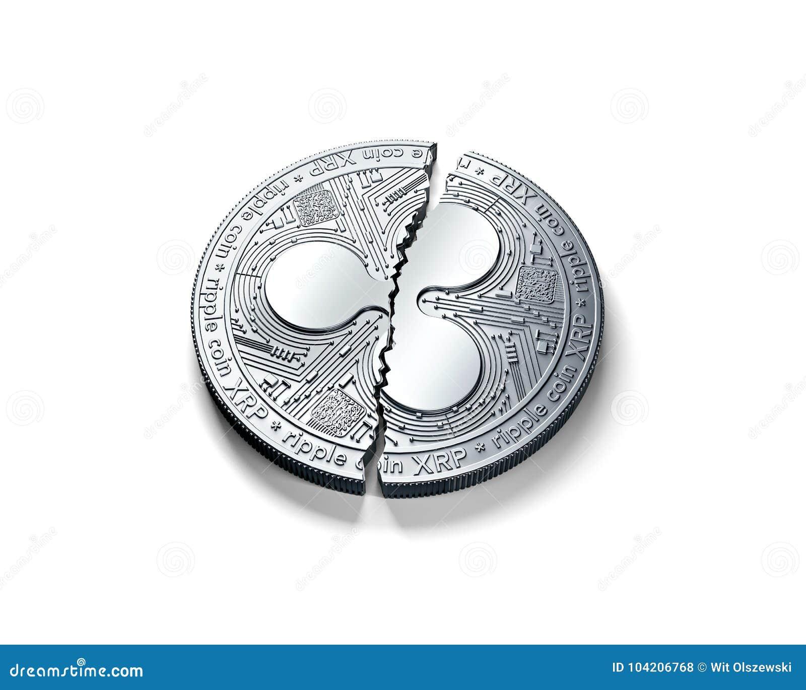 Gebrochen in zwei der silbernen Kräuselungsstücke Münze XRP lokalisiert auf weißem Hintergrund