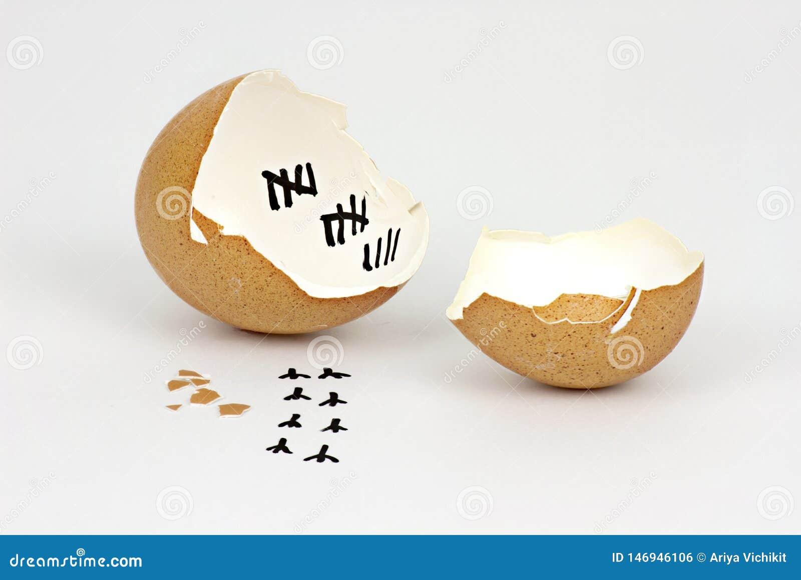 Gebrochene Eierschale mit Abdrücken auf weißem Hintergrund