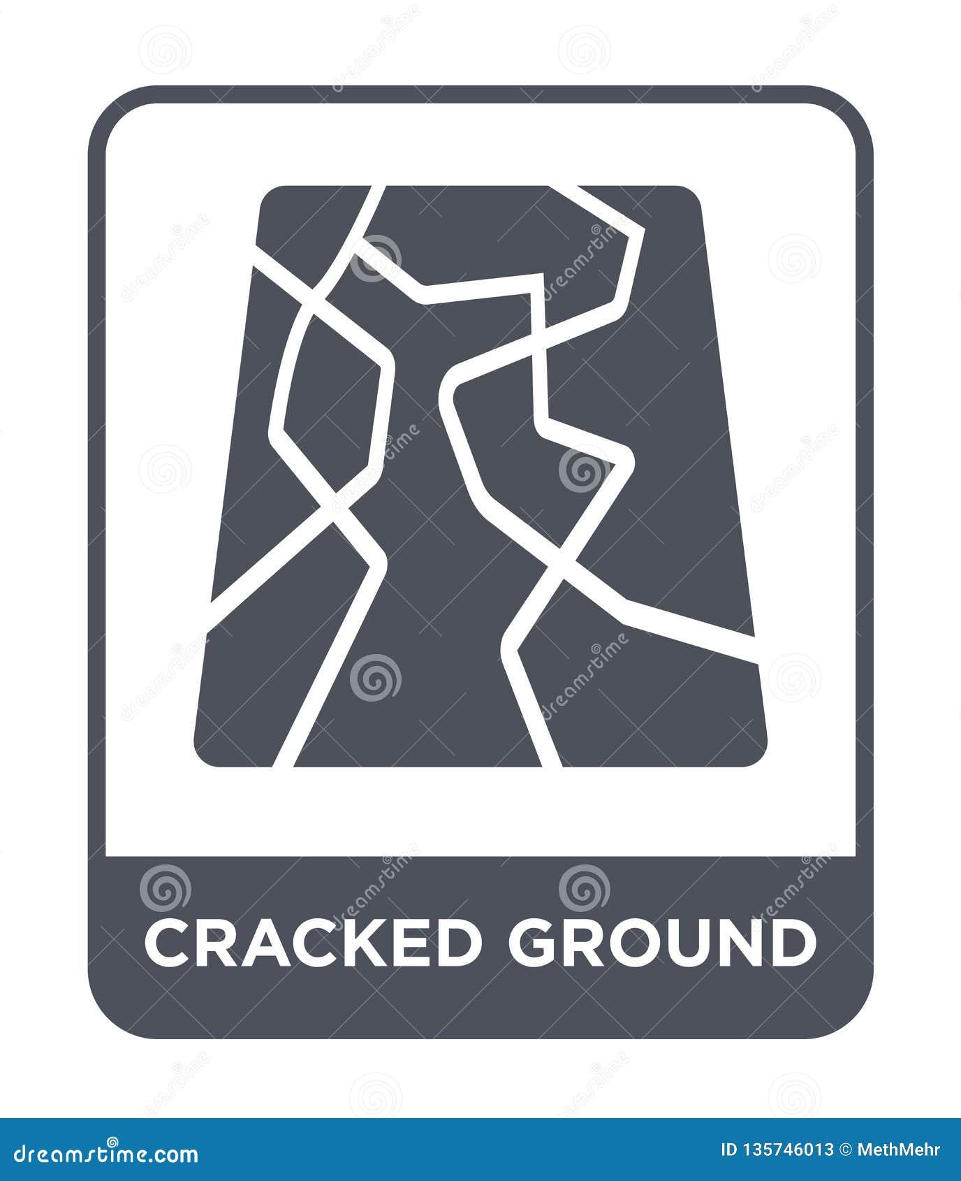 Gebrochene Grundikone in der modischen Entwurfsart geknackte Bodenikone lokalisiert auf weißem Hintergrund gebrochene Grundvektor