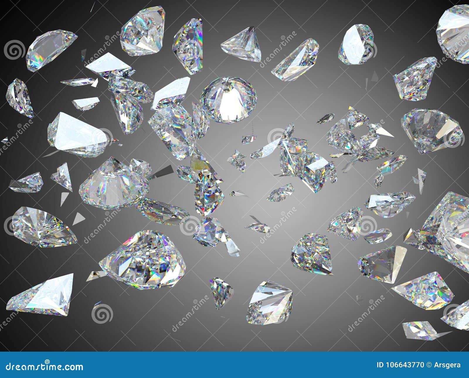 Gebroken en verbrijzelde grote diamanten of halfedelstenen
