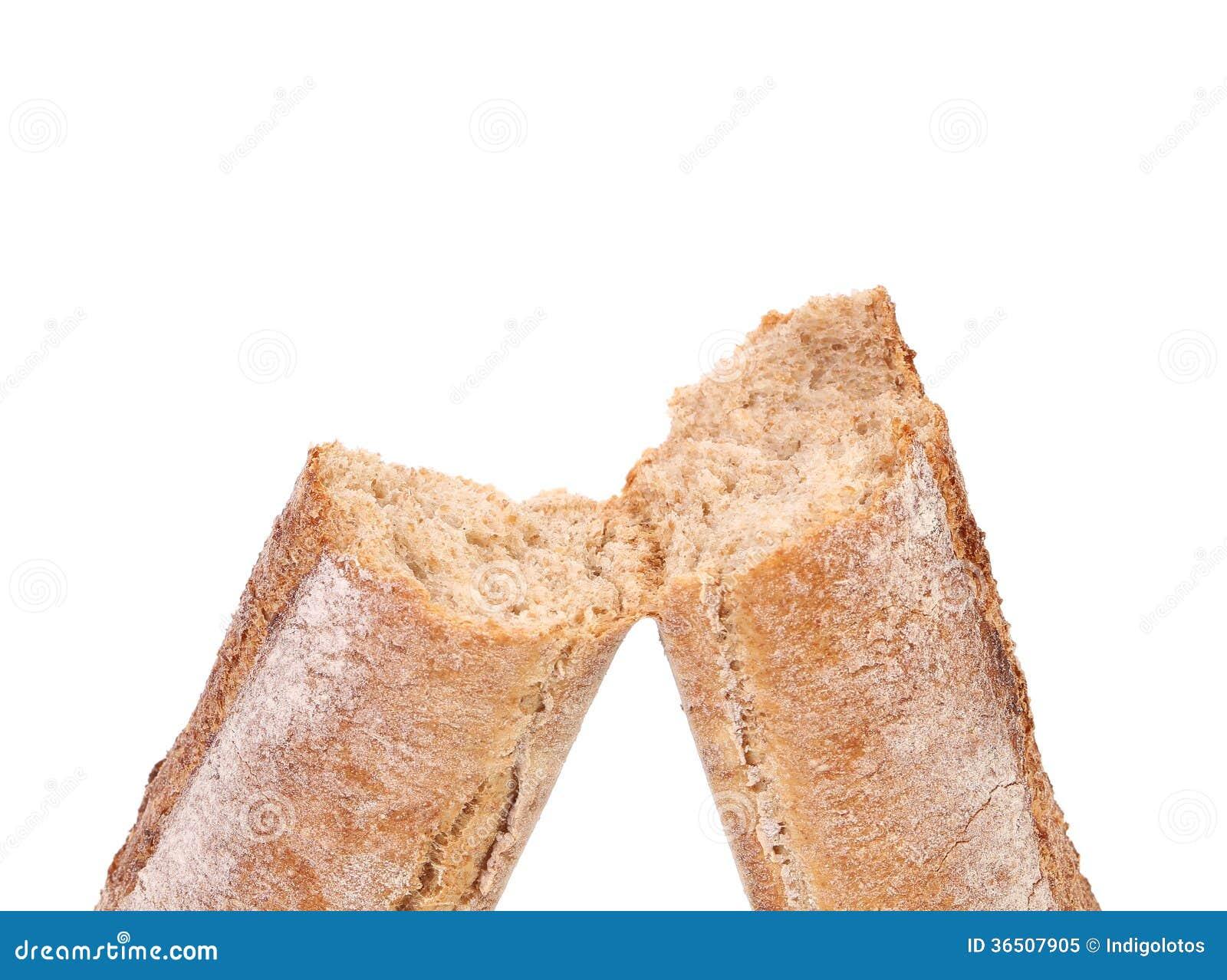 Gebroken lang bruin brood.