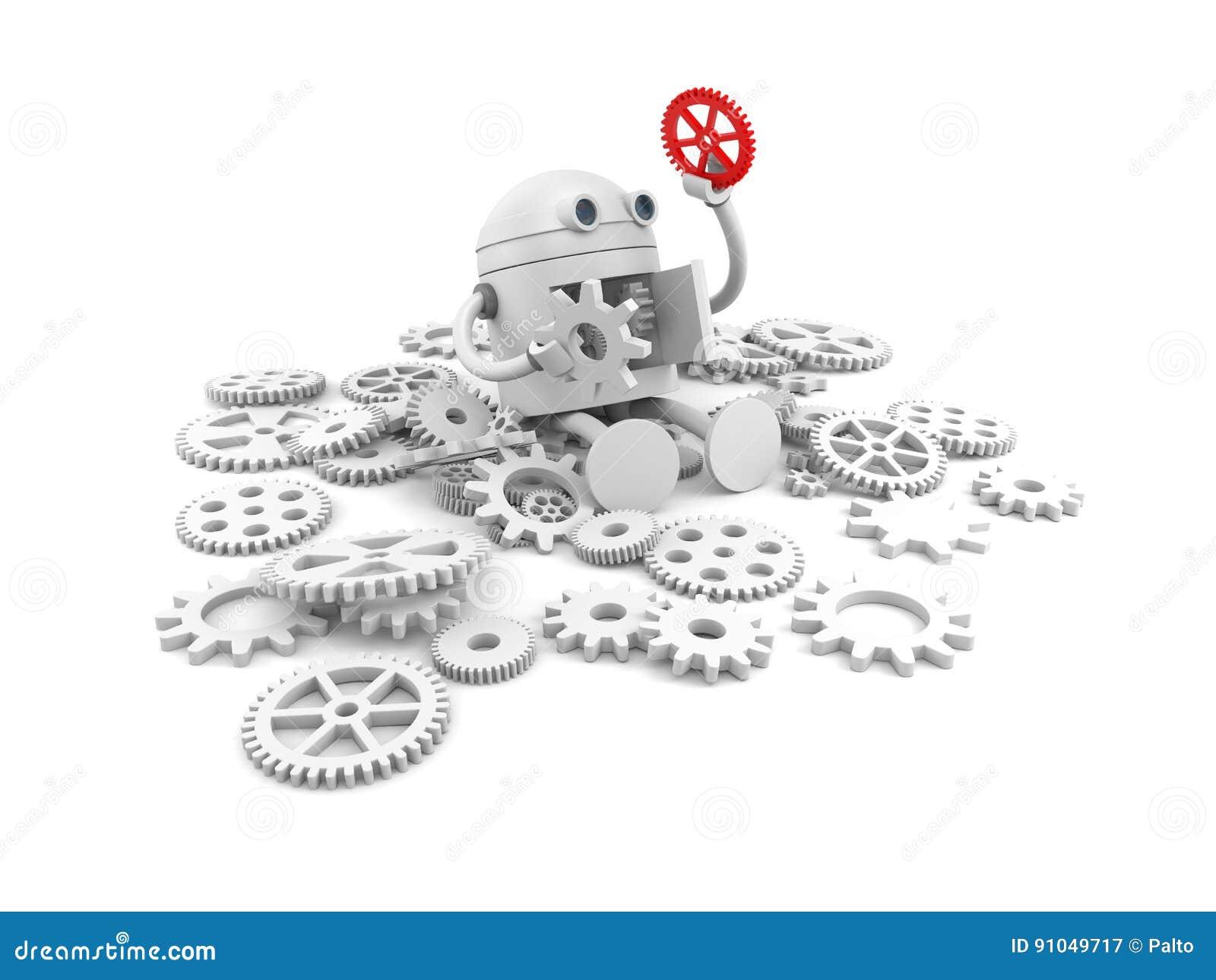 Gebroken robot met details van zijn mechanisme Voor uw websiteprojecten