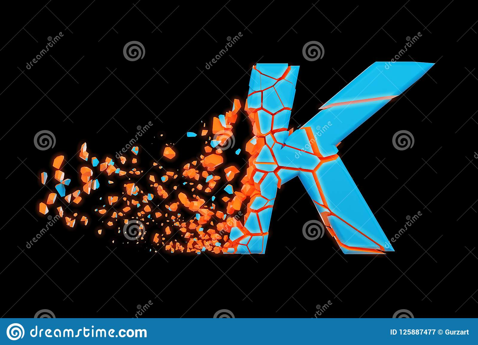 Gebroken verbrijzelde snelle sportieve alfabetbrief K in hoofdletters Verpletterde snelle het rennen doopvont 3d geef op zwarte a