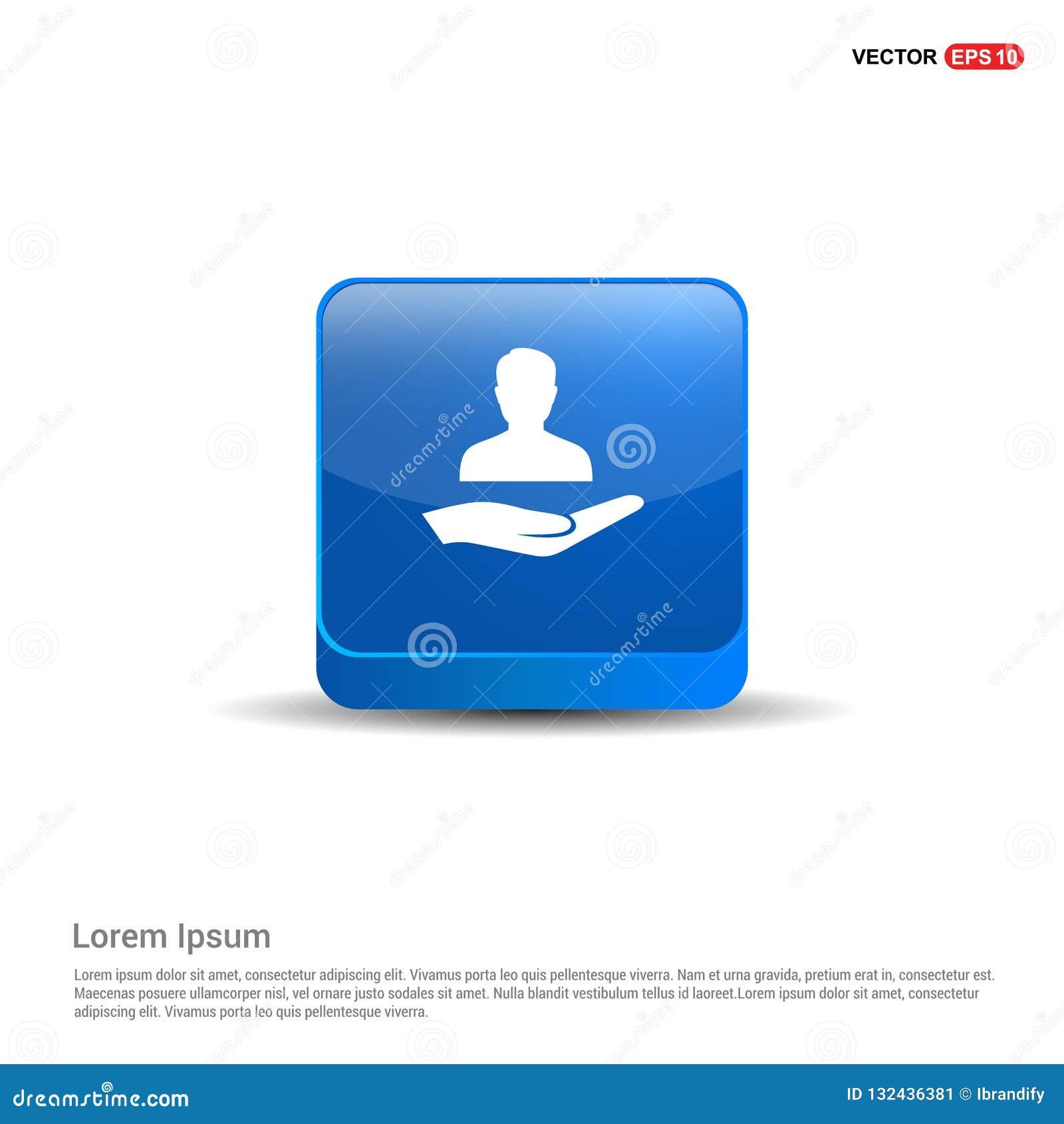 Gebruikers in hand pictogram - 3d Blauwe Knoop