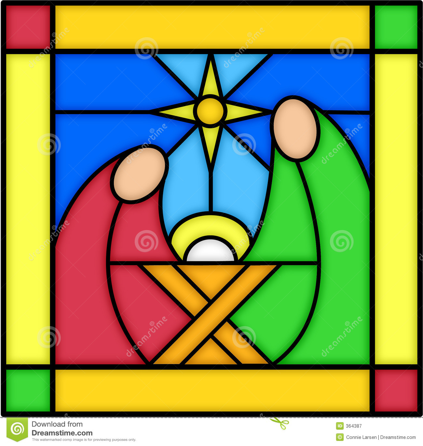 Geburt Christi im Buntglas