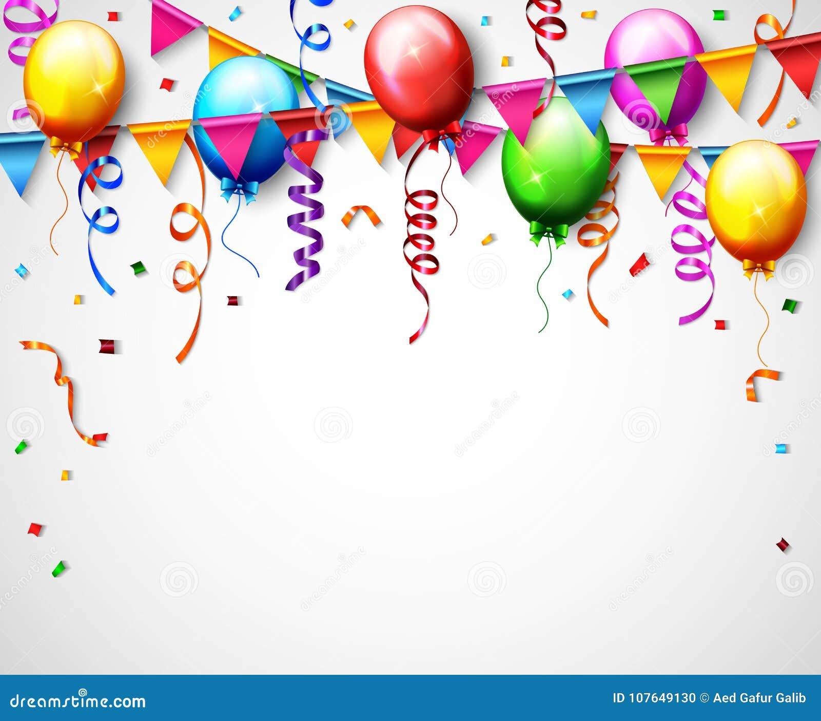 Geburtstags Ballon Mit Konfetti Hintergrund Vektor Abbildung