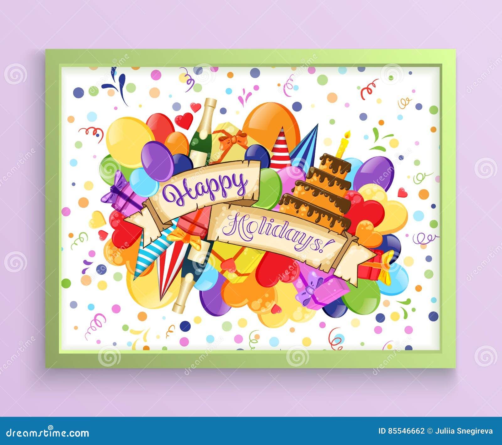 Geburtstags-Geburtstagsparty-Einladungs-Karten-Schablone Vektor ...