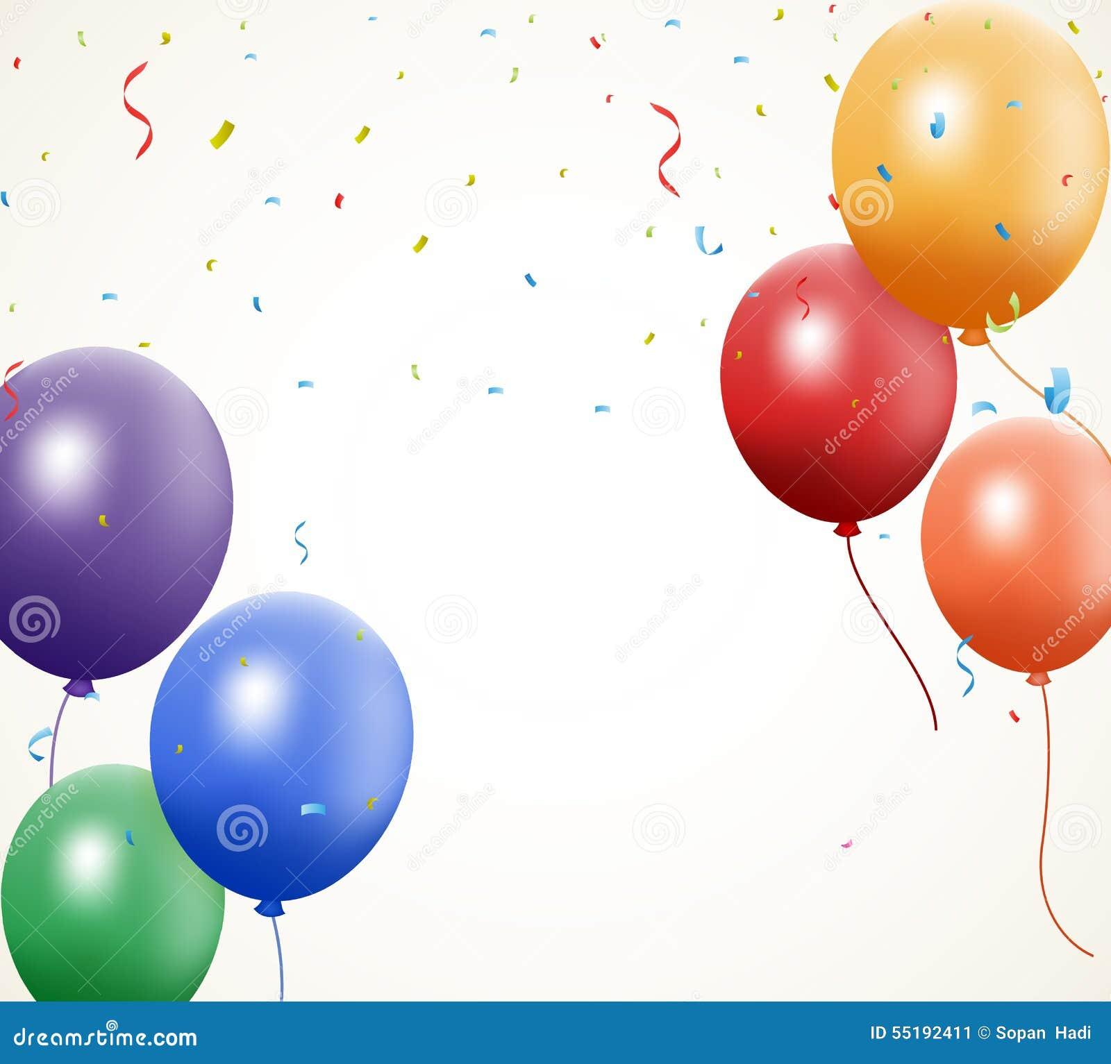 Geburtstagsballon Mit Konfettis Vektor Abbildung Illustration Von